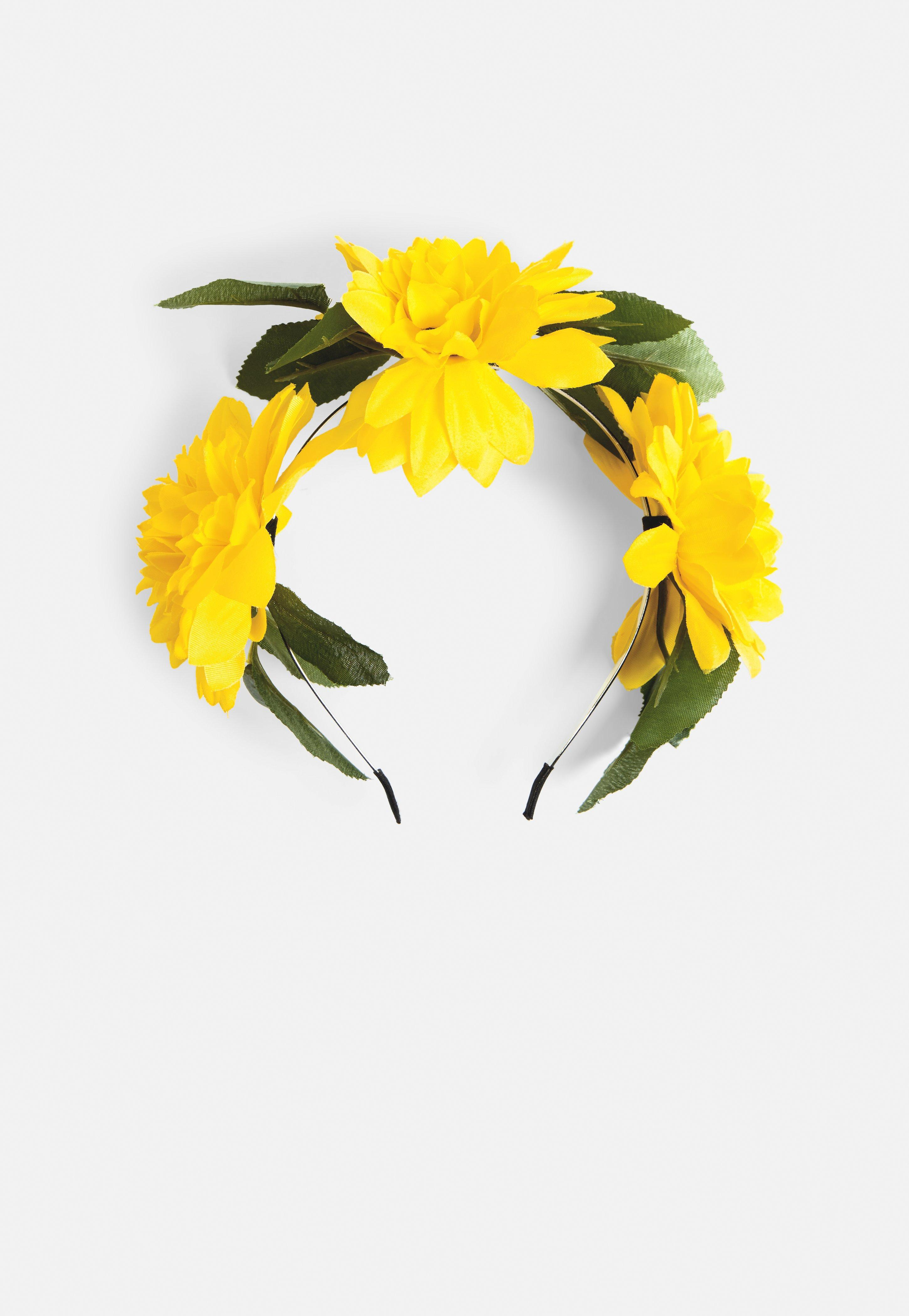 Missguided Yellow Floral Headband In Yellow Lyst