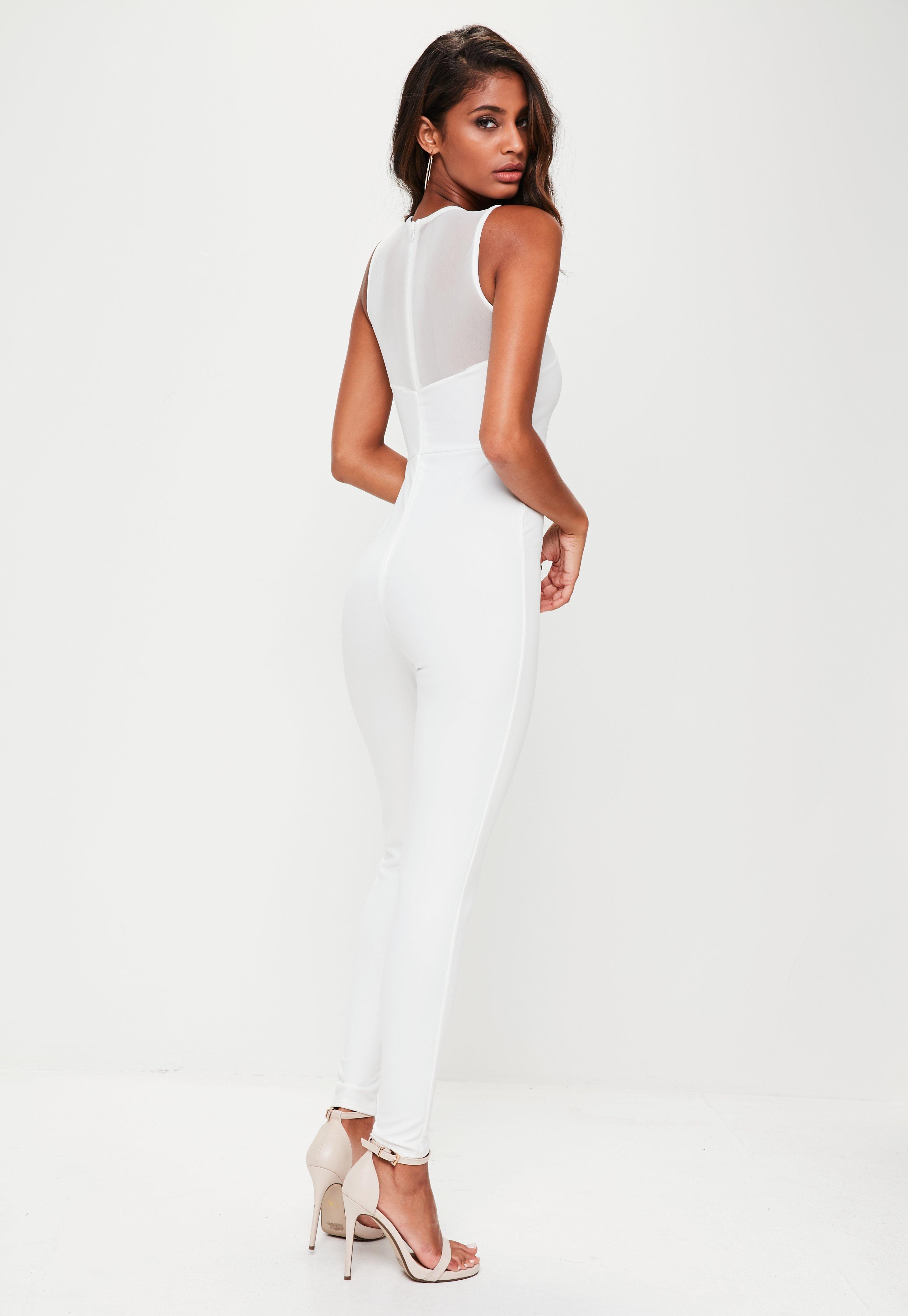 b7d67cd5e9e3 Lyst - Missguided White Mesh Insert Unitard Jumpsuit in White