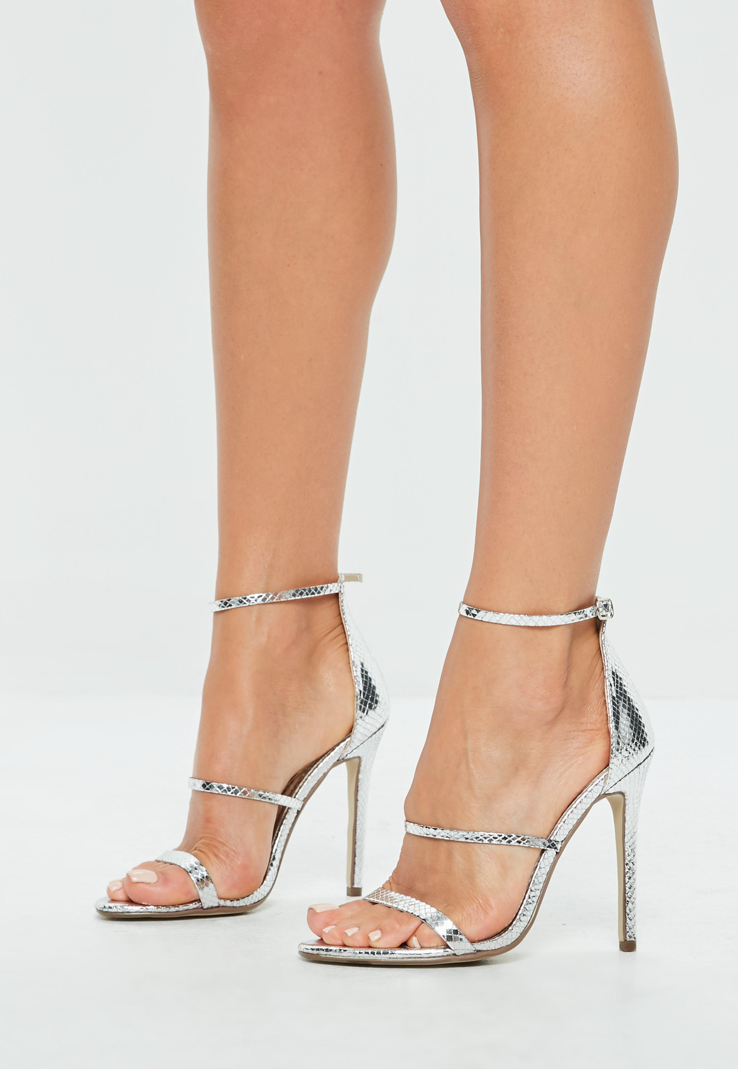 96bb0a400ba Lyst - Missguided Silver Metallic Three Strap Barely There Heels in ...