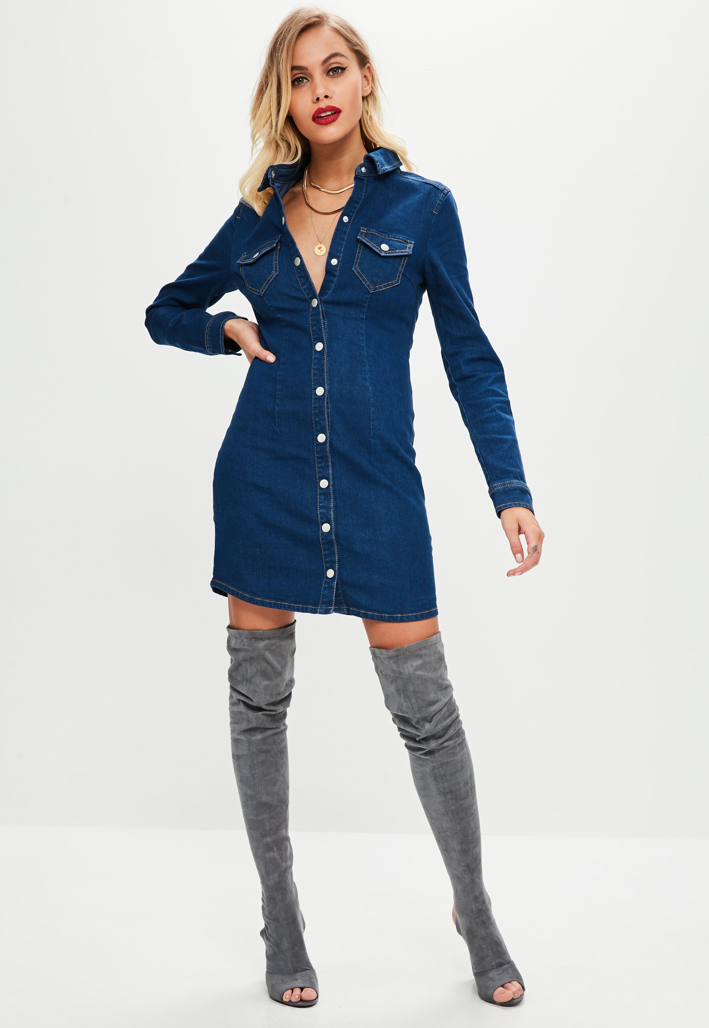 0f7bef77225 Missguided - Tall Blue Fitted Button Through Dress - Lyst. View fullscreen