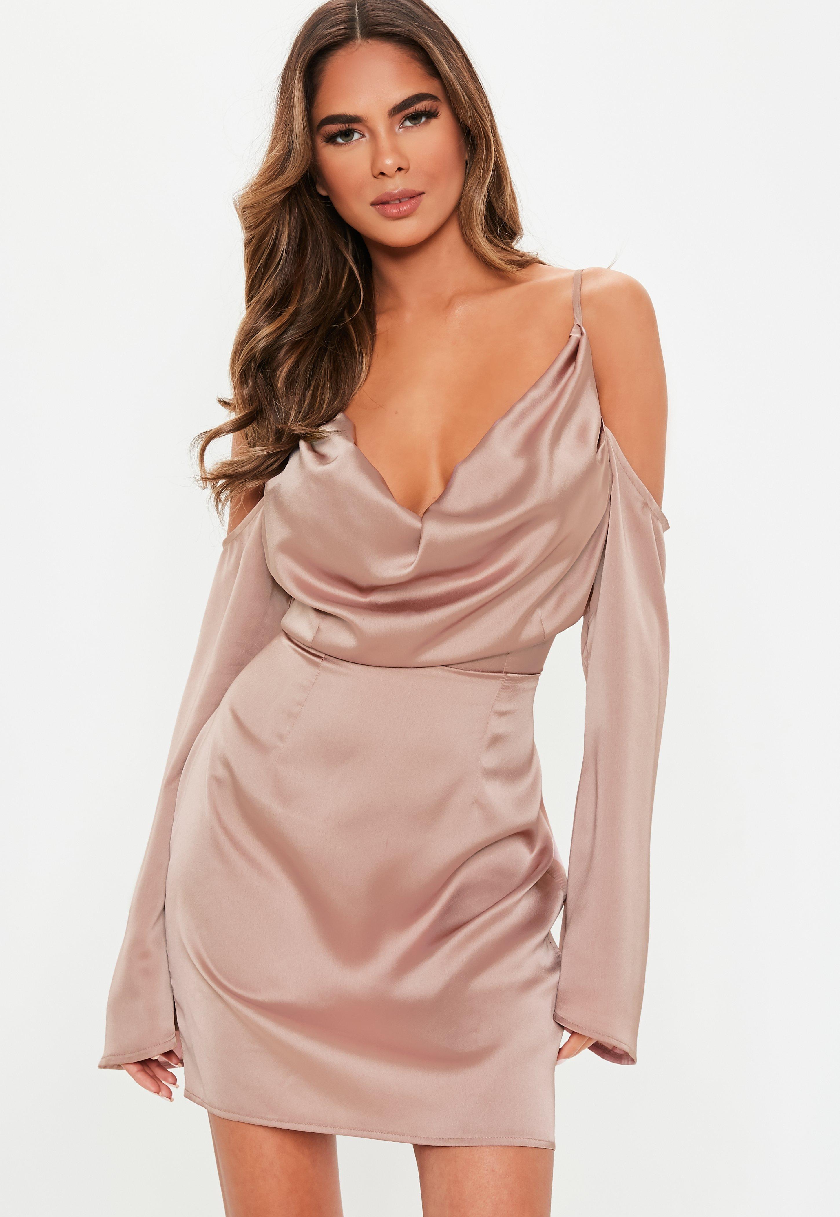 8dcb75edf0667 Lyst - Missguided Mauve Satin Cold Shoulder Cowl Mini Dress in Purple