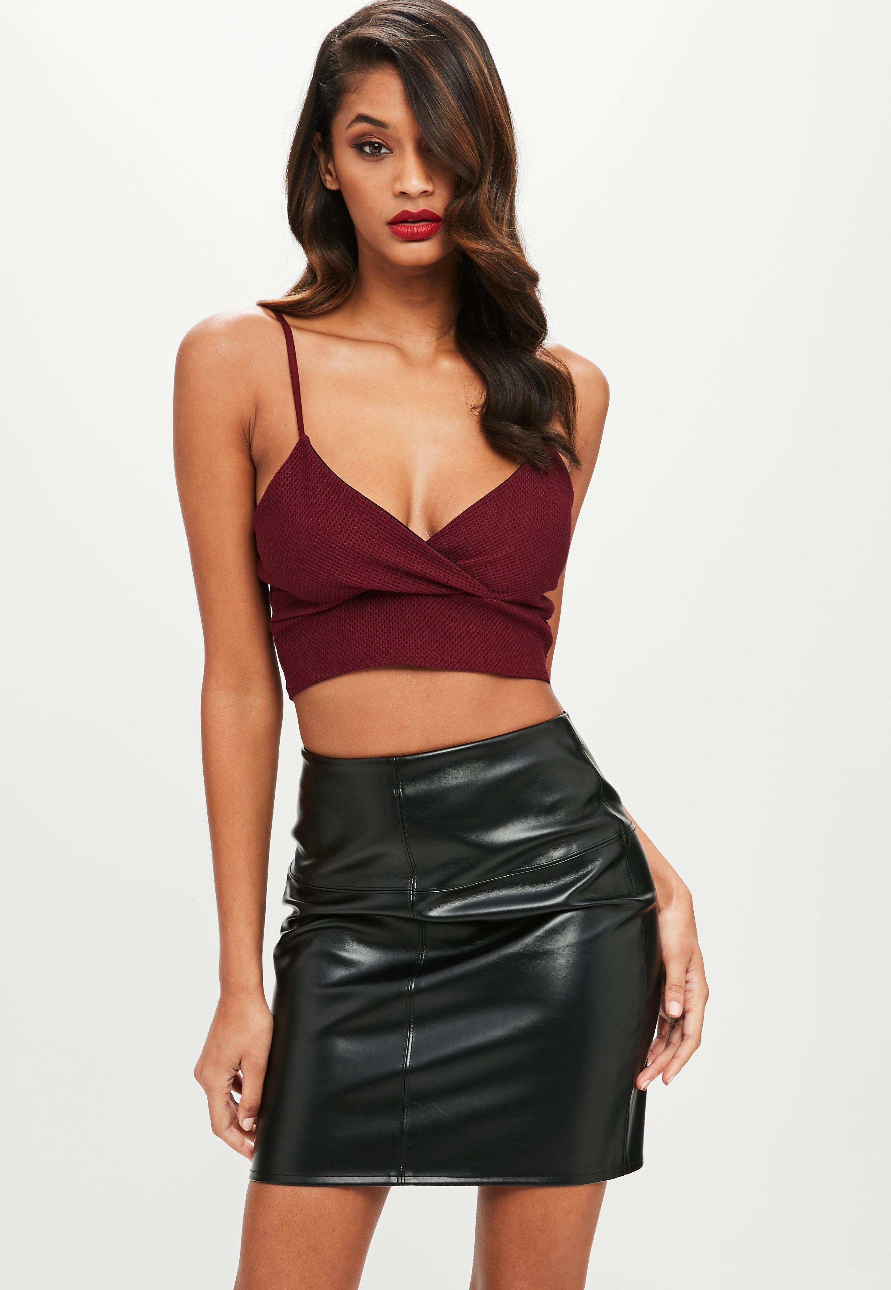 Lyst missguided petite purple bralette top in purple for Petite designers