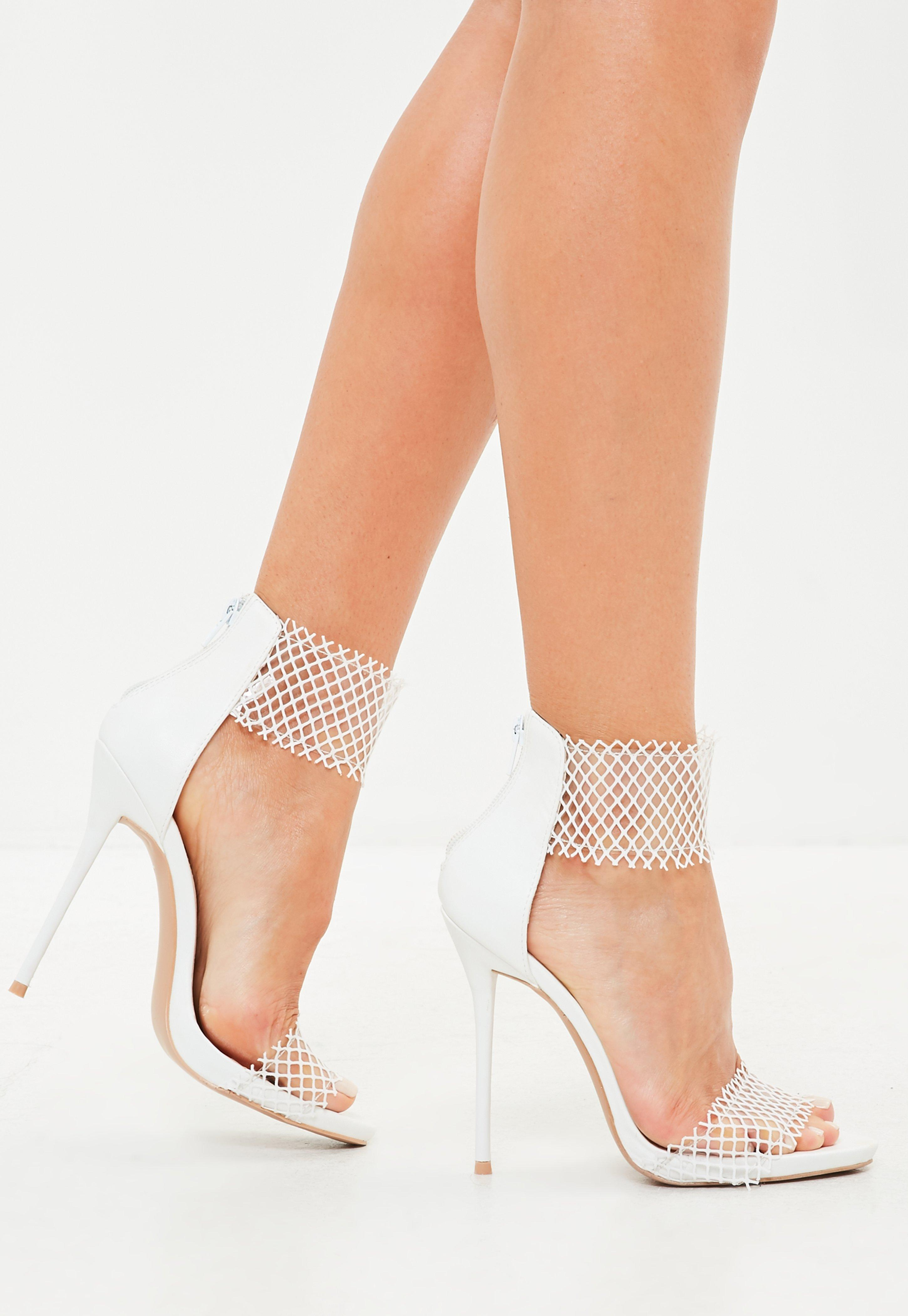 d4b52fb4095d Lyst - Missguided White Mesh Clear Barely There Sandals in White