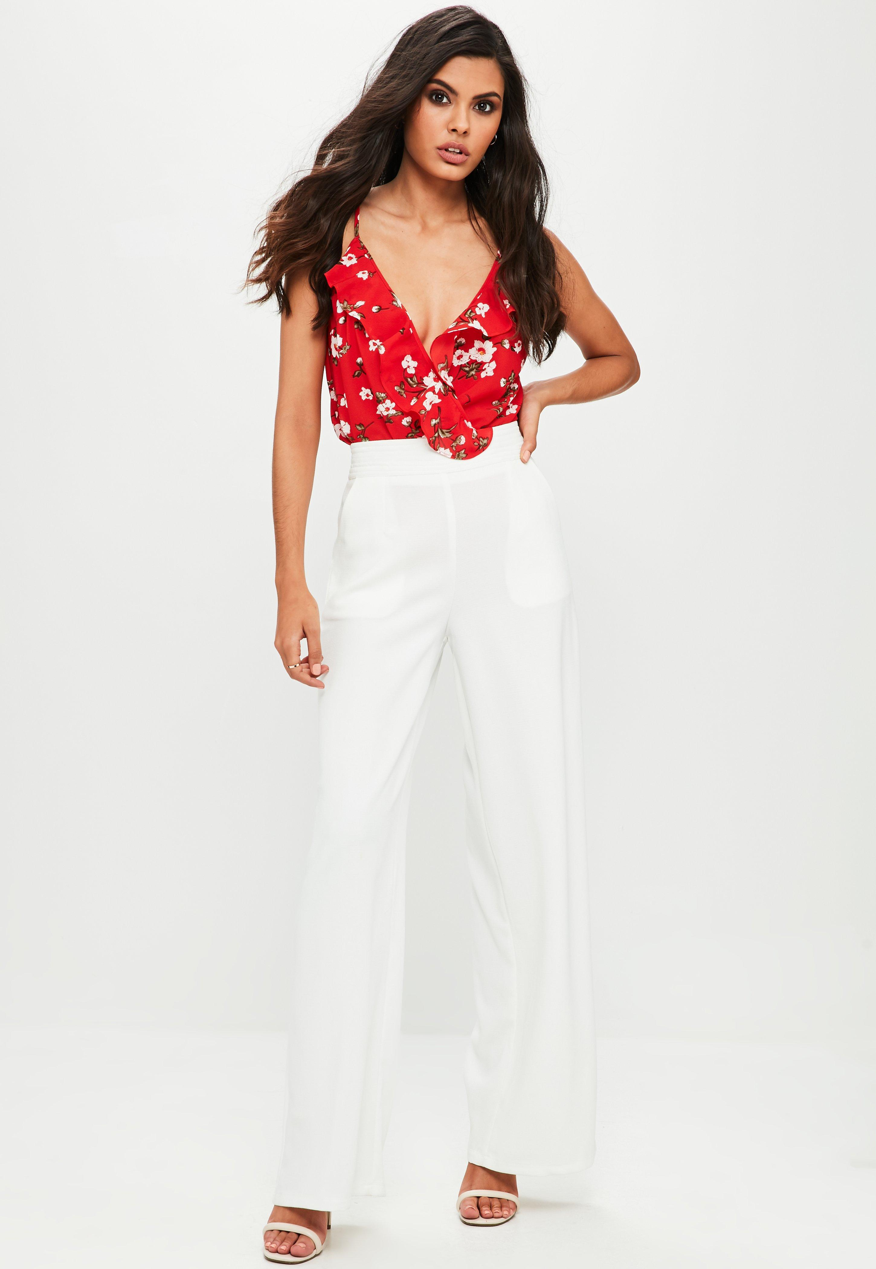 Missguided Red Floral Wrap Cami Bodysuit in Red - Lyst a80eb9ec0