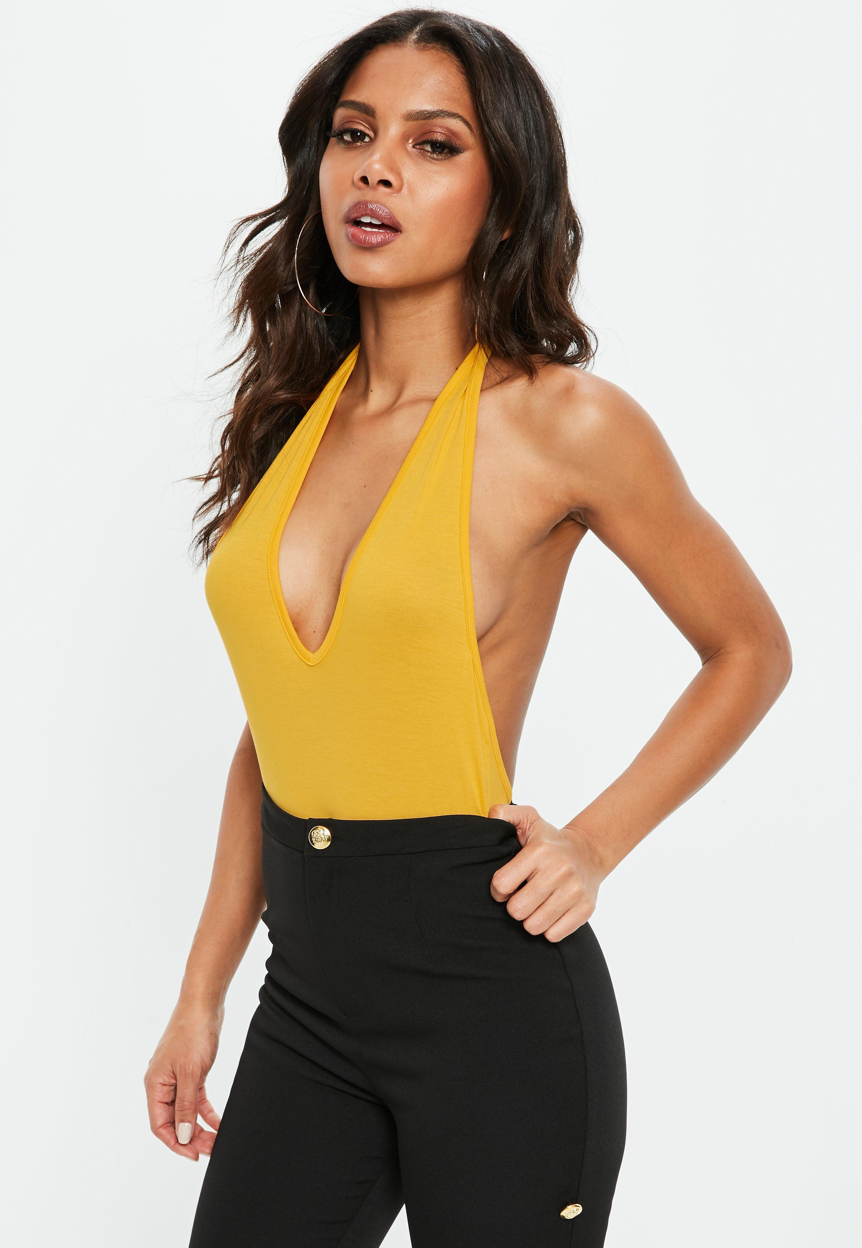 f71719d785a10 Lyst - Missguided Yellow Plunge Halterneck Jersey Bodysuit in Yellow