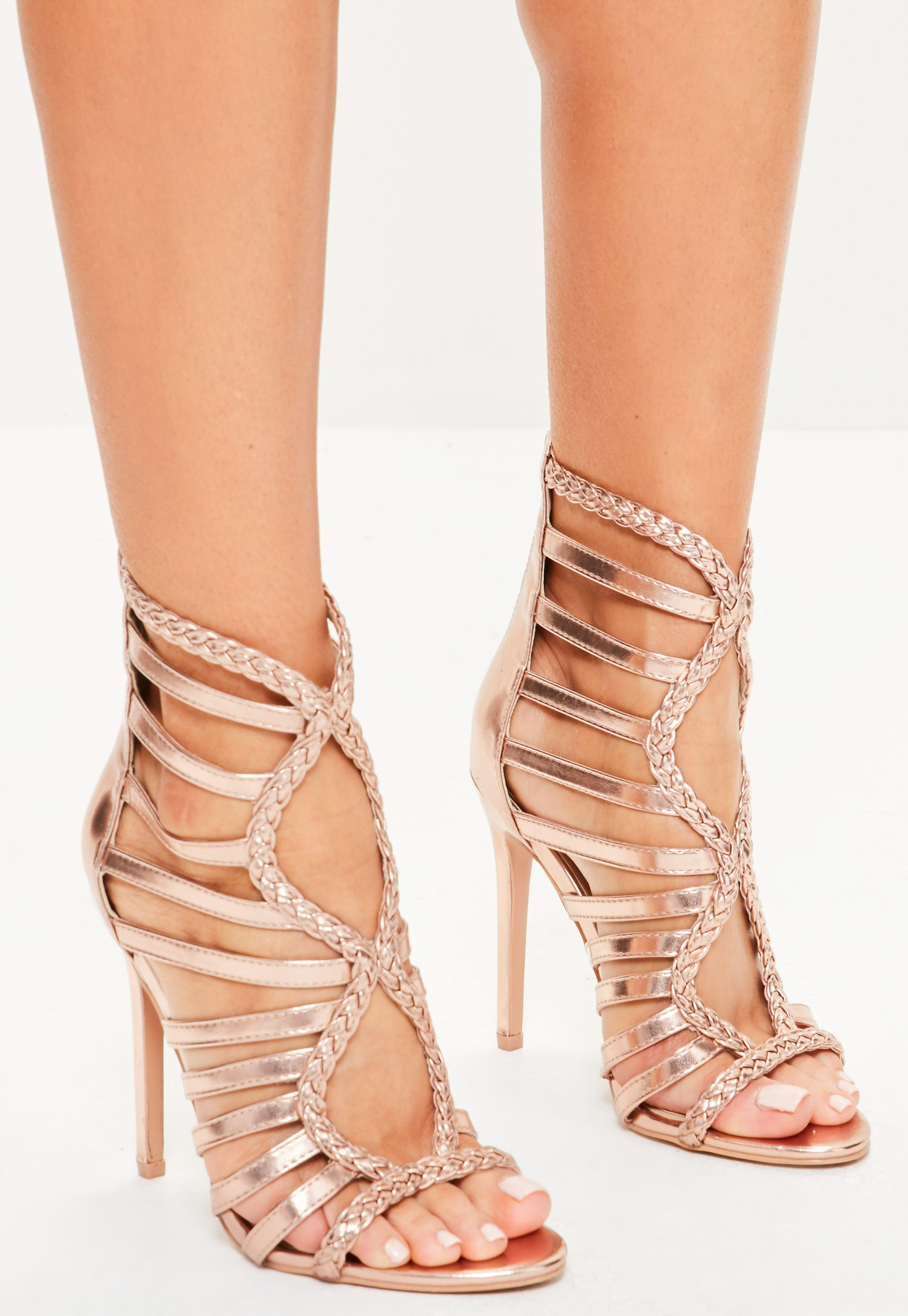 8bae302b0bf3c0 Lyst - Missguided Rose Gold Plaited Multi Strap Gladiator Heels in Pink