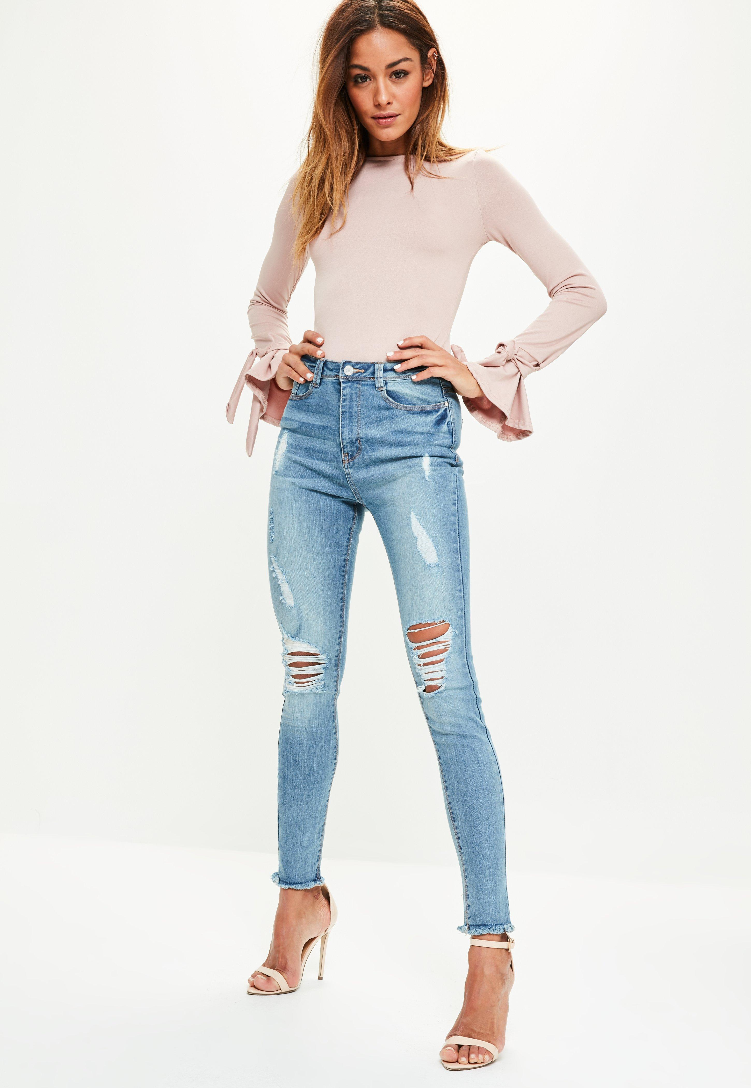 Lyst - Missguided Blue Sinner High Waisted Fray Ripped Skinny Jeans ... 03176c918cd1