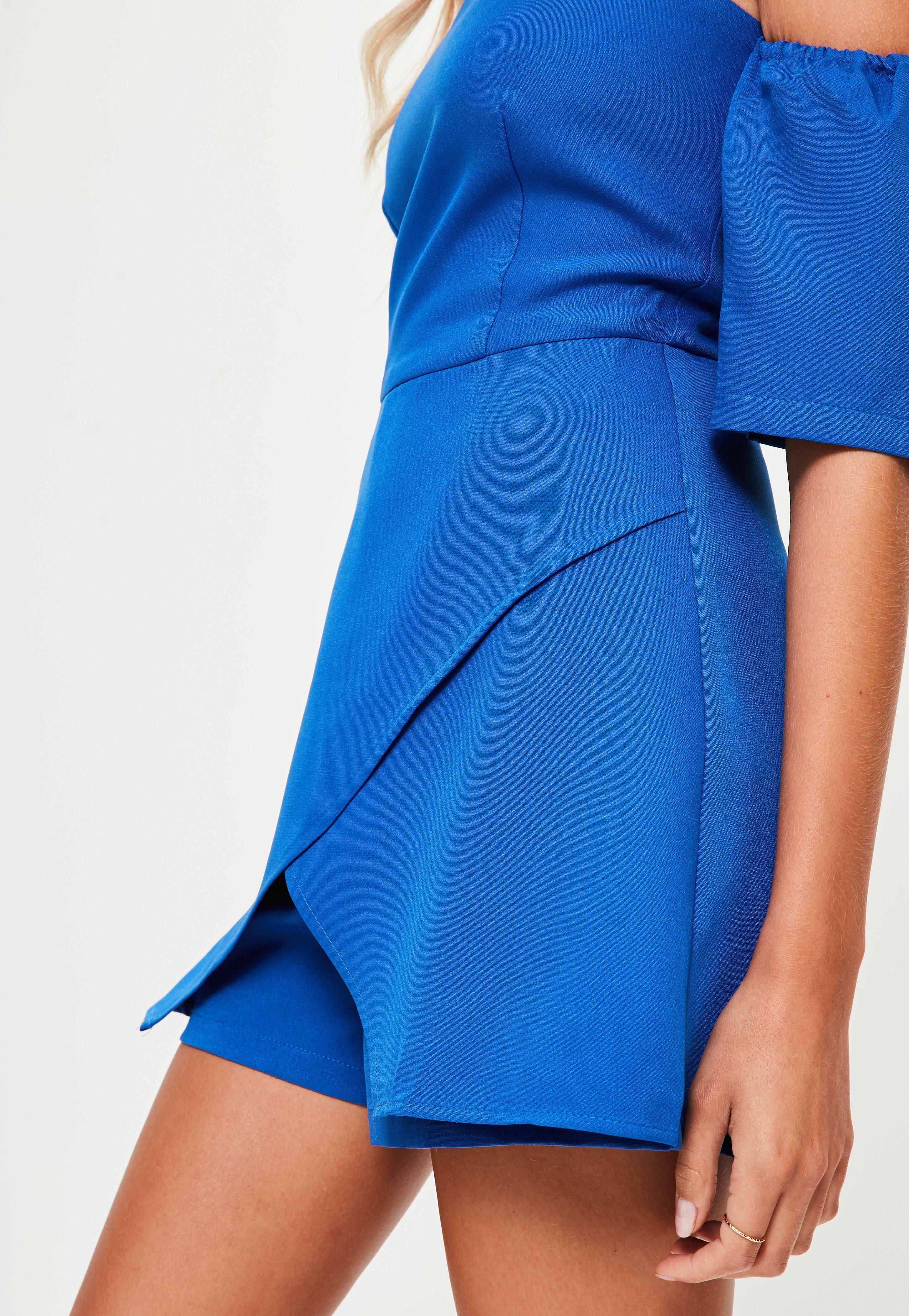 892d0a75f4 Missguided - Blue Bardot Skort Playsuit - Lyst. View fullscreen