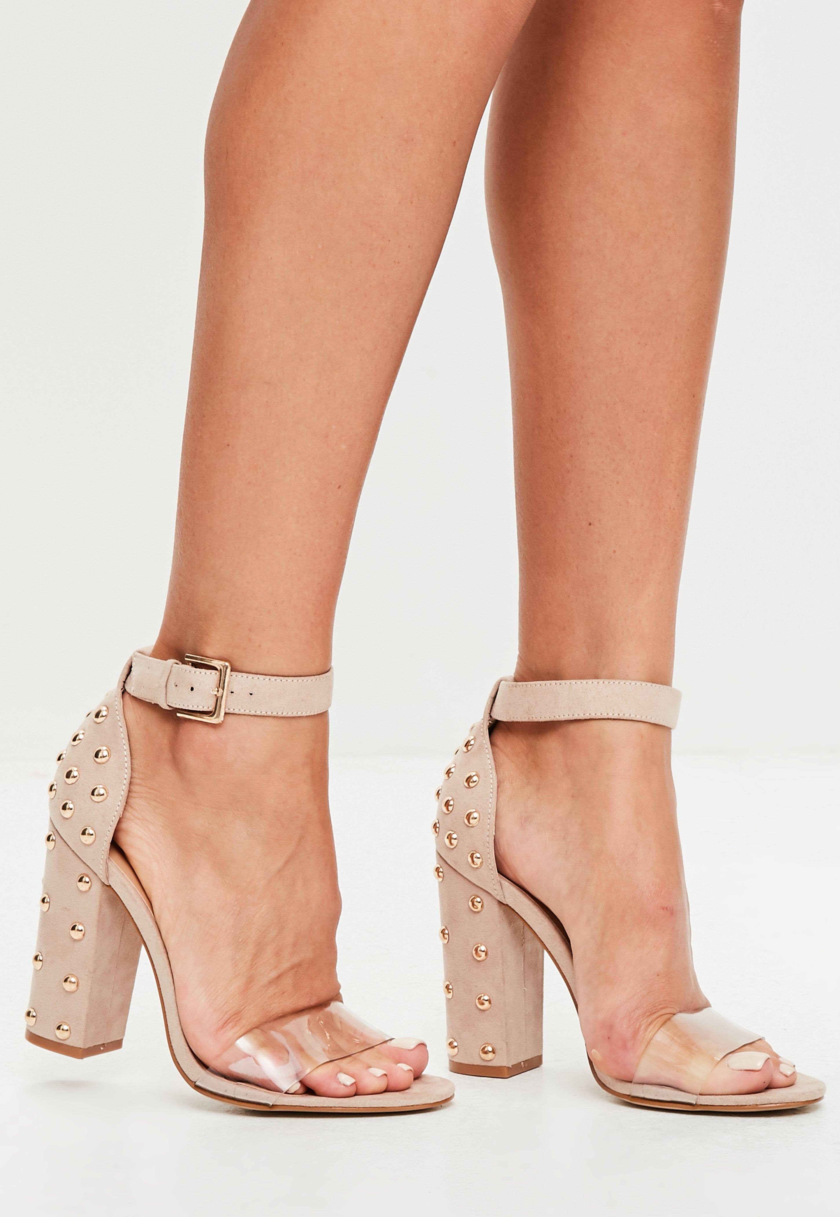 0e6ec412379 Lyst - Missguided Nude Dome Studded Block Heel Sandals in Natural