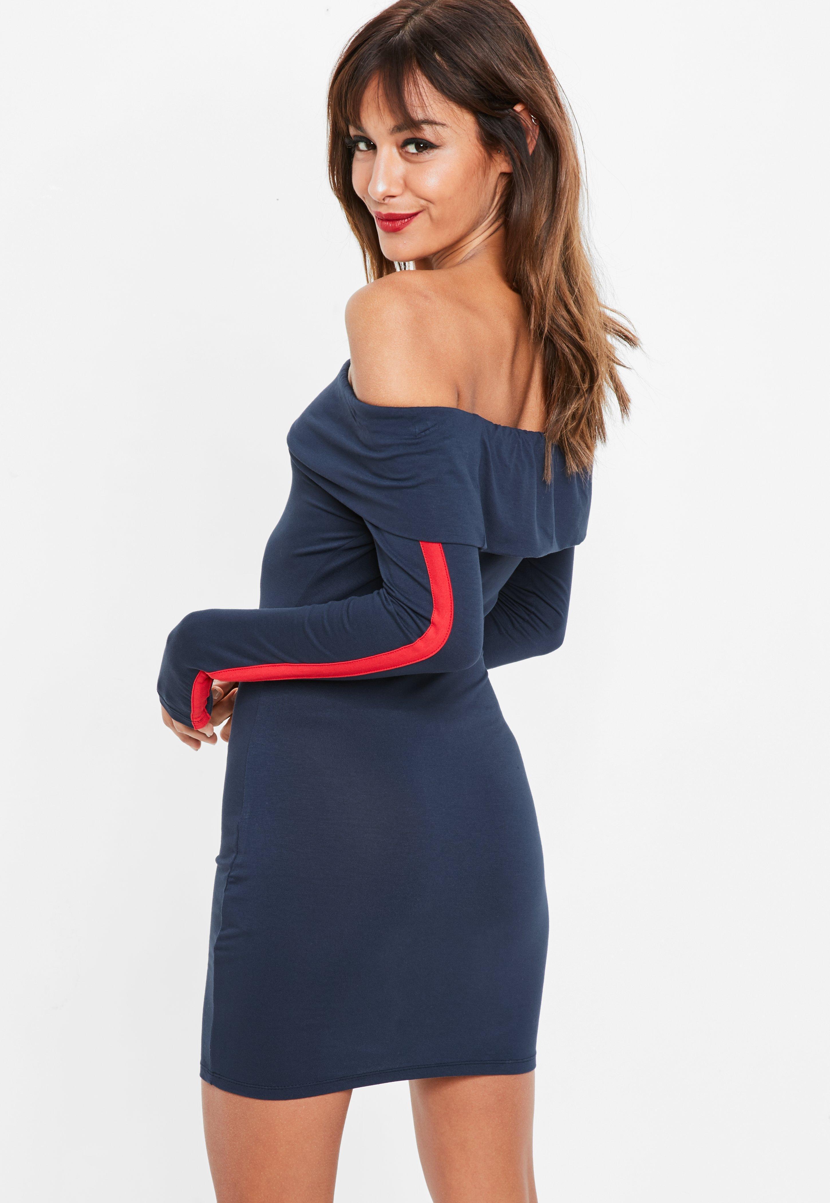 b9e4aa8edee Lyst - Missguided Navy Jersey Bardot Bodycon Dress in Blue