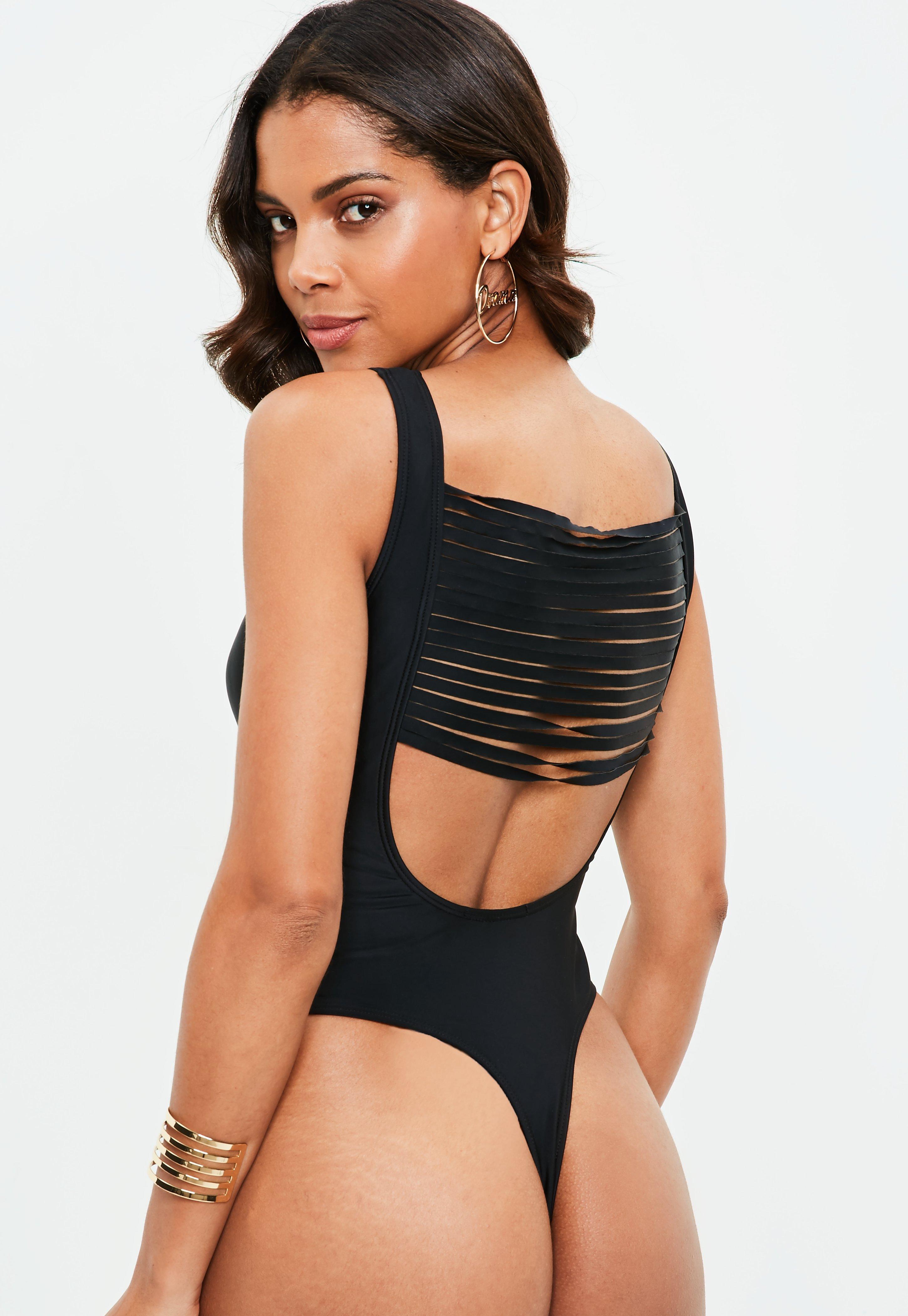 821b604b02ed7 Lyst - Missguided Black Shred Back Thong Swimsuit in Black