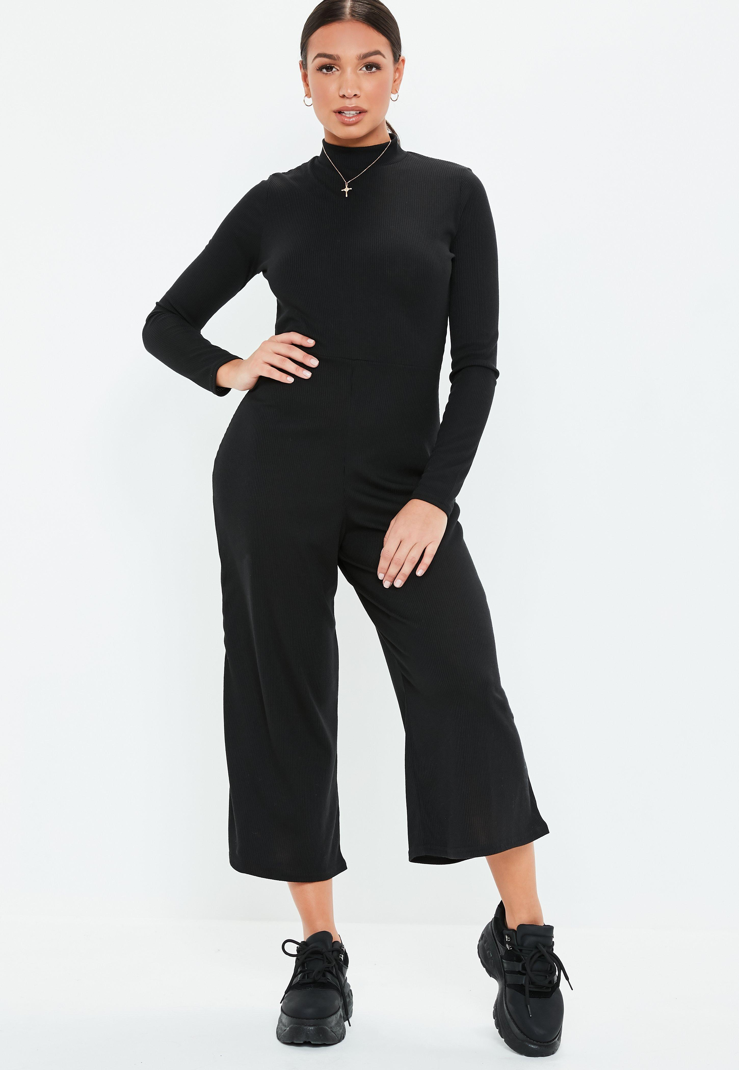 aaee148f17b4 Lyst - Missguided Black High Neck Ribbed Culotte Jumpsuit in Black
