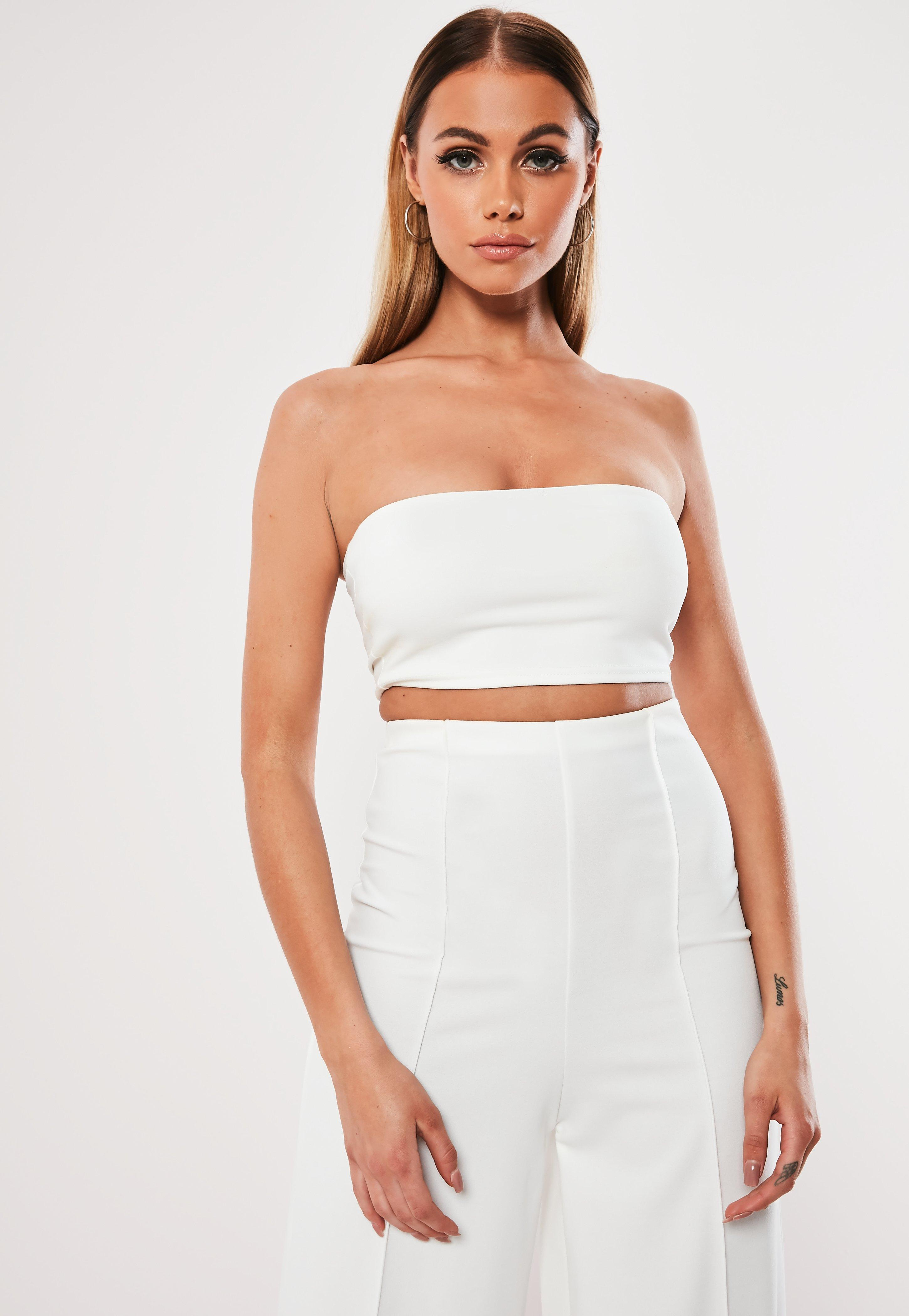 08071498d84 Missguided - White Co Ord Crepe Bandeau Bralet - Lyst. View fullscreen