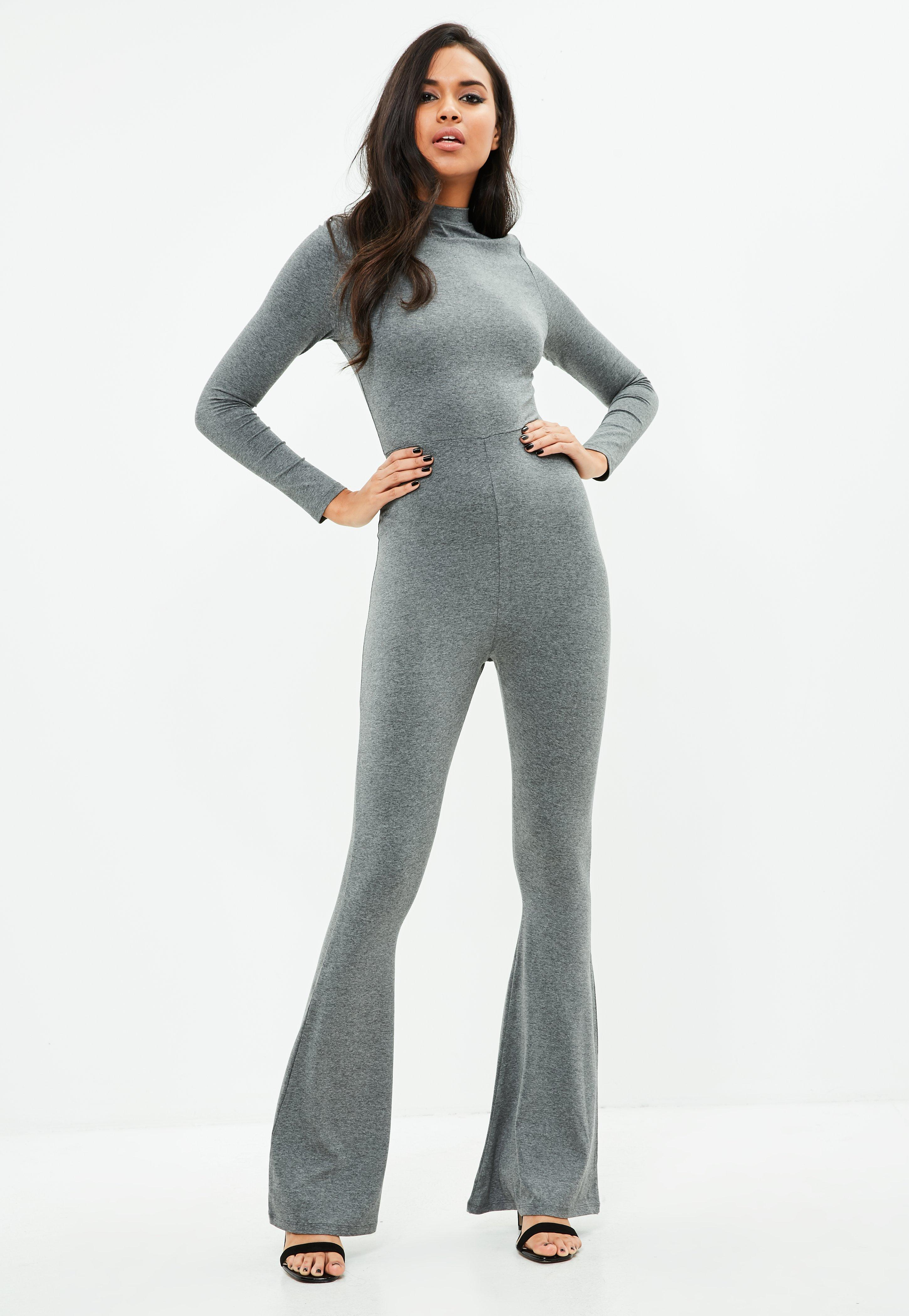 1ca07af9ab28 Lyst - Missguided Grey Flared Jersey Jumpsuit in Gray