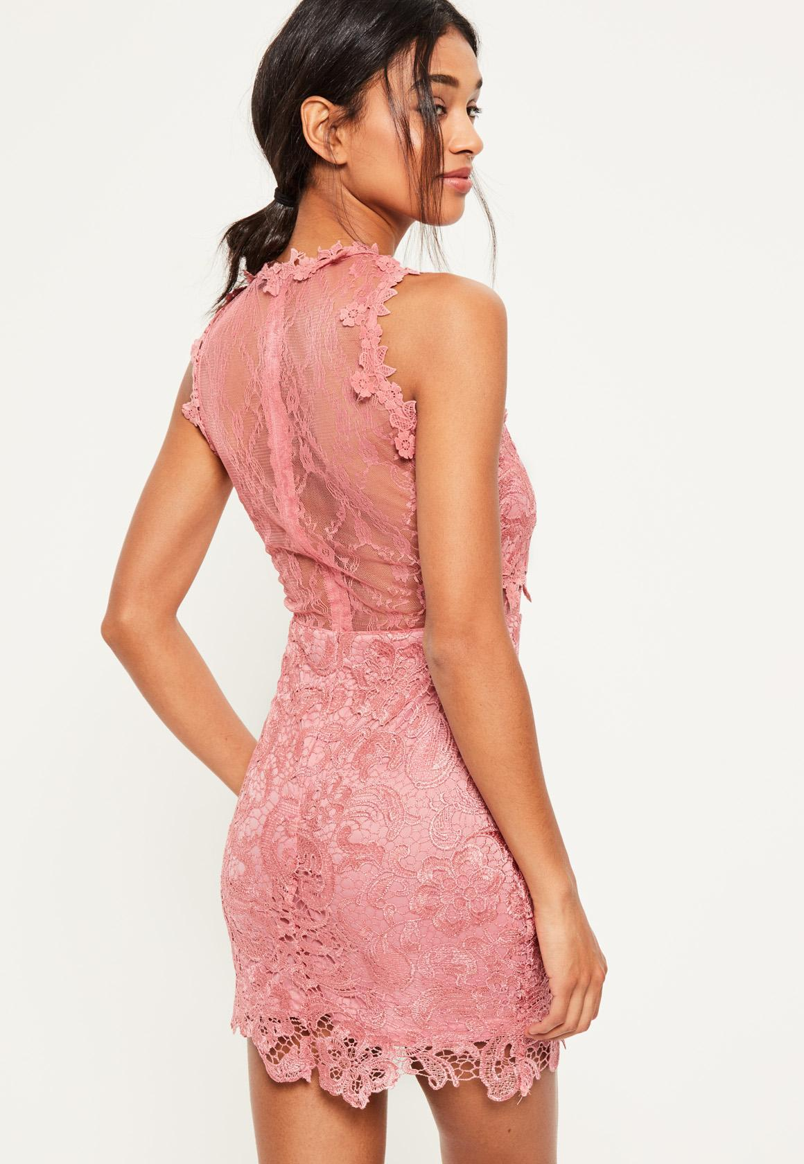 e7cb53048094 Lyst - Missguided Pink Lace And Mesh Bodycon Dress in Pink