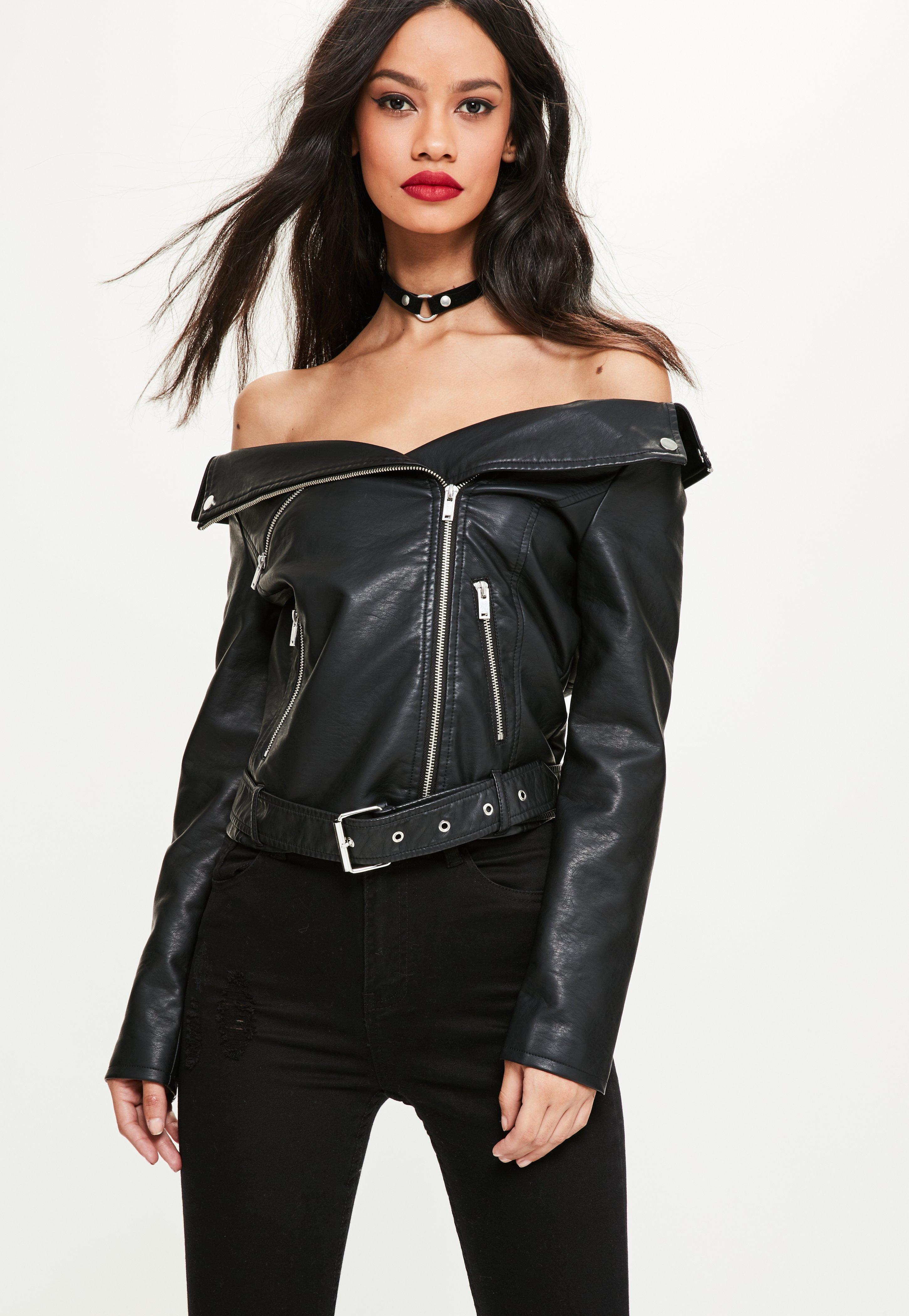 226d83dd8e13 Lyst - Missguided Black Faux Leather Off Shoulder Jacket in Black