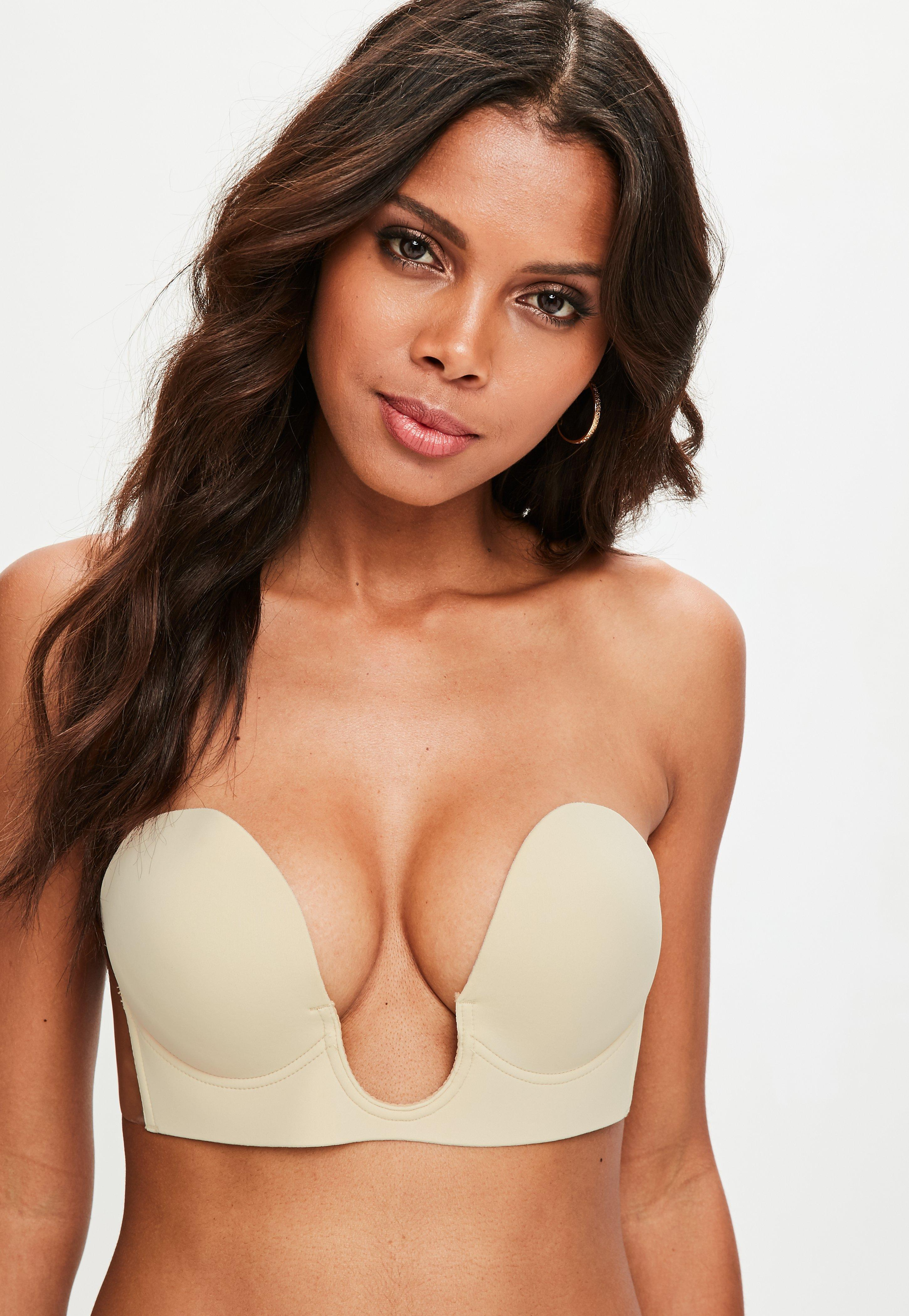 42592d5bbc Lyst - Missguided Nude Secret U Plunge Stick On Strapless Bra in Natural