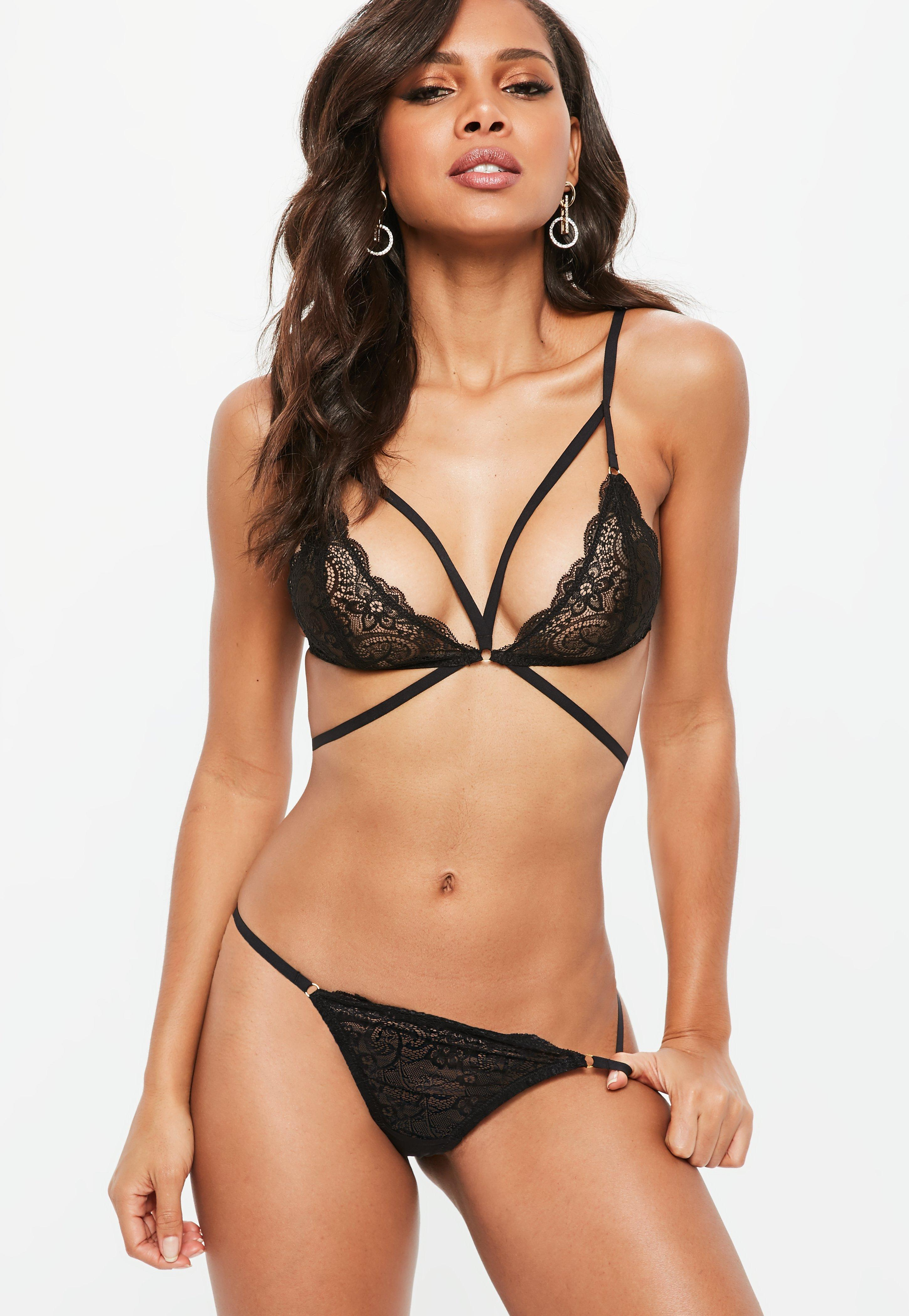 734918c00f Missguided - Black Strappy Lace Triangle Bra - Lyst. View fullscreen