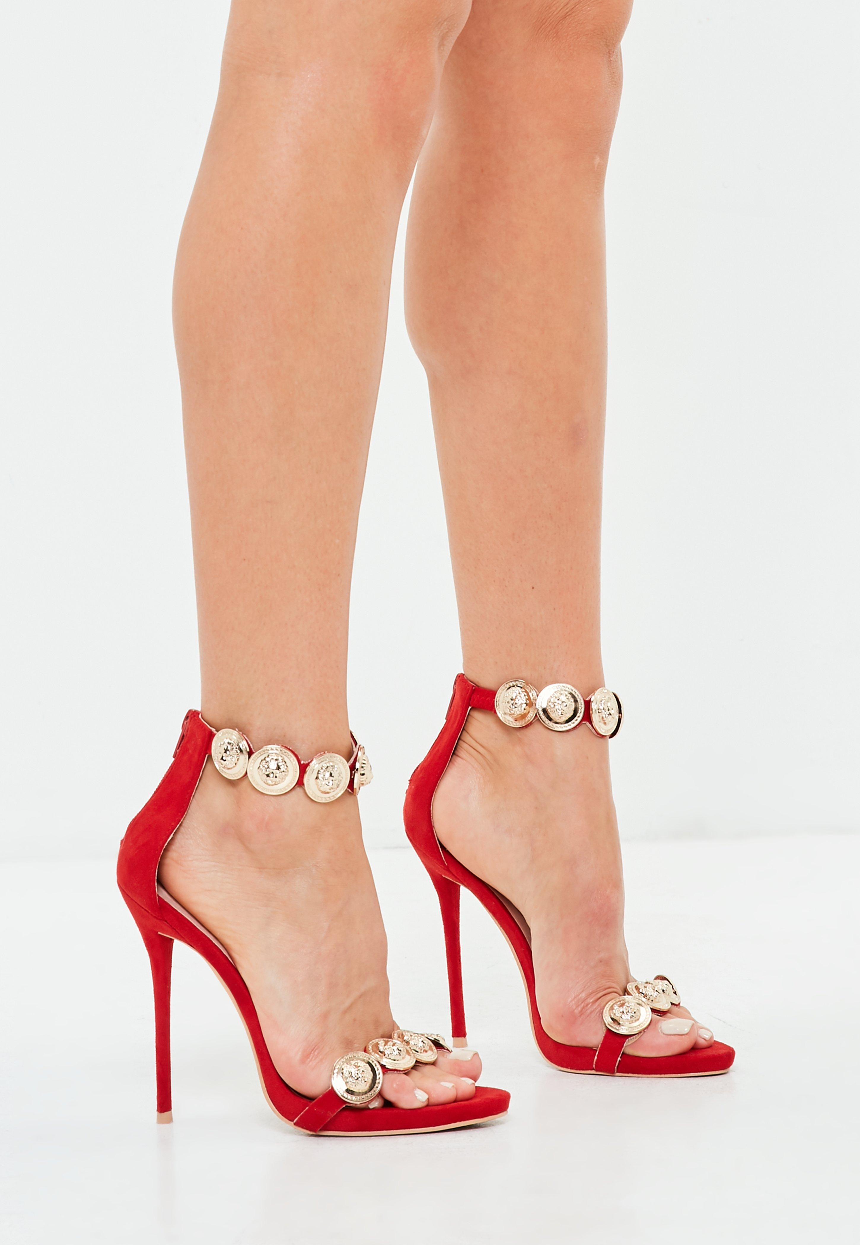 3fd116e355f085 Missguided Peace + Love Red Embellished Heeled Sandals in Red - Lyst
