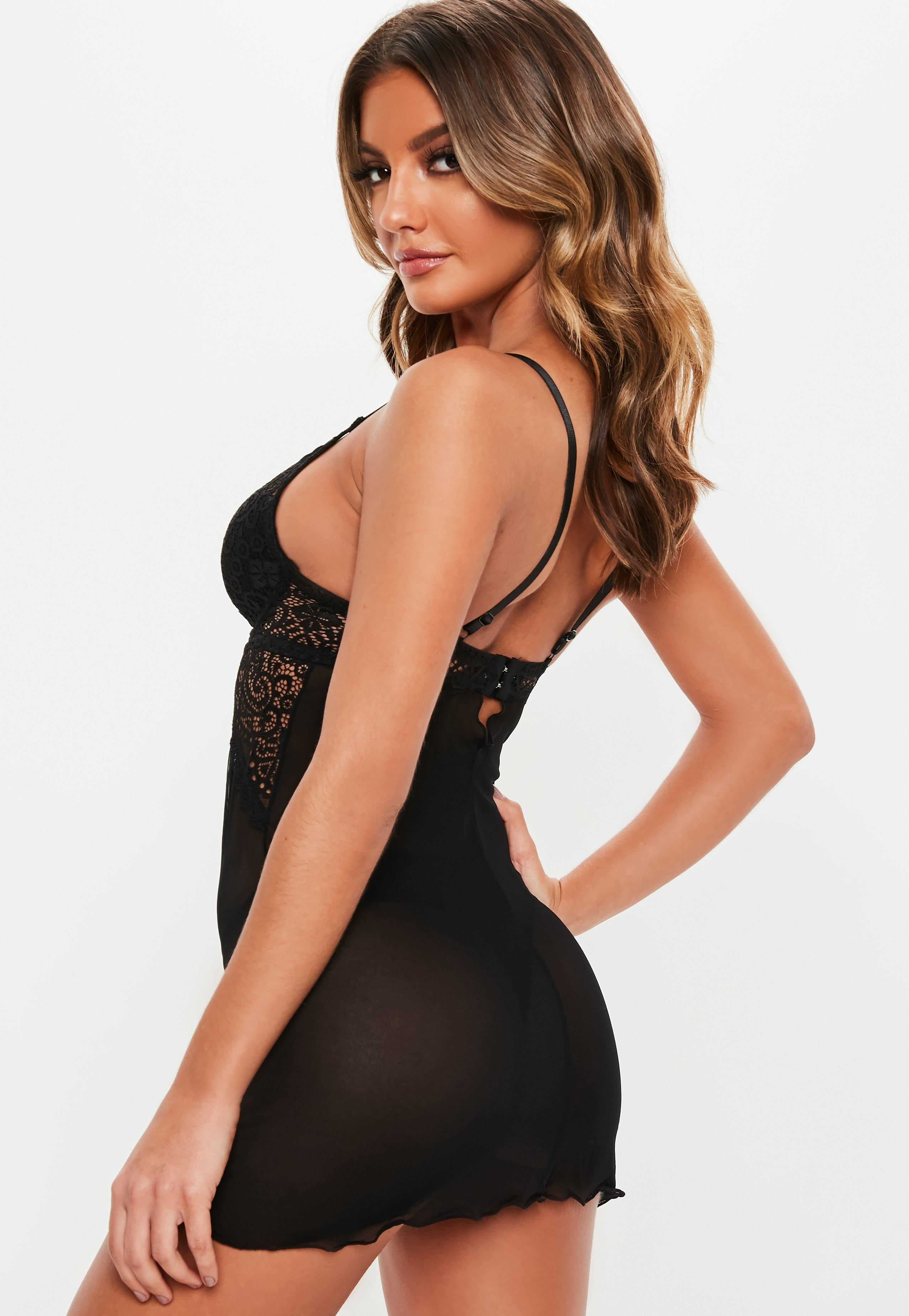 Missguided - Black Lace Negligee Thong Set - Lyst. View fullscreen 6fd353a76