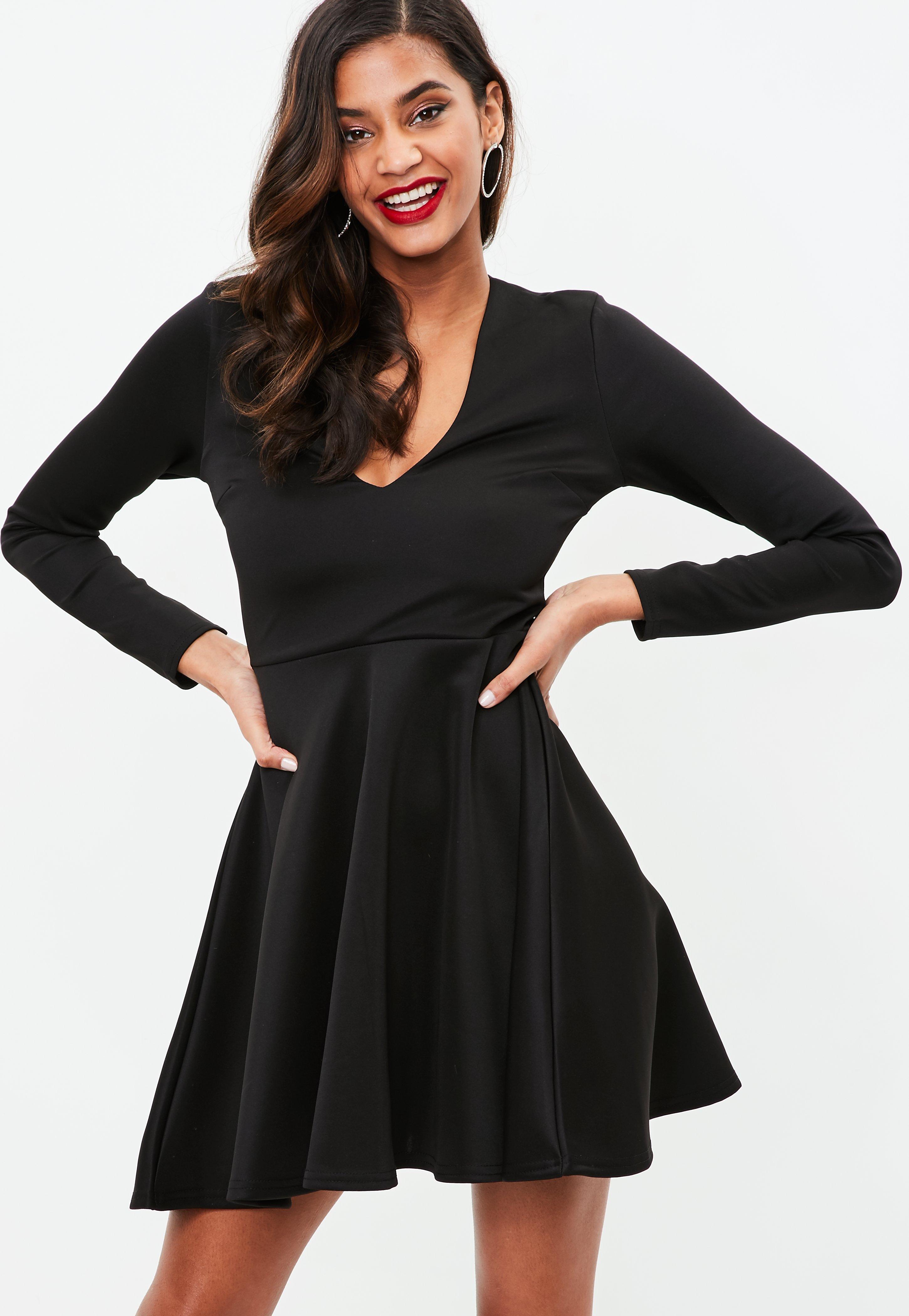 41556a747426 Lyst - Missguided Black Scuba Plunge Skater Dress in Black
