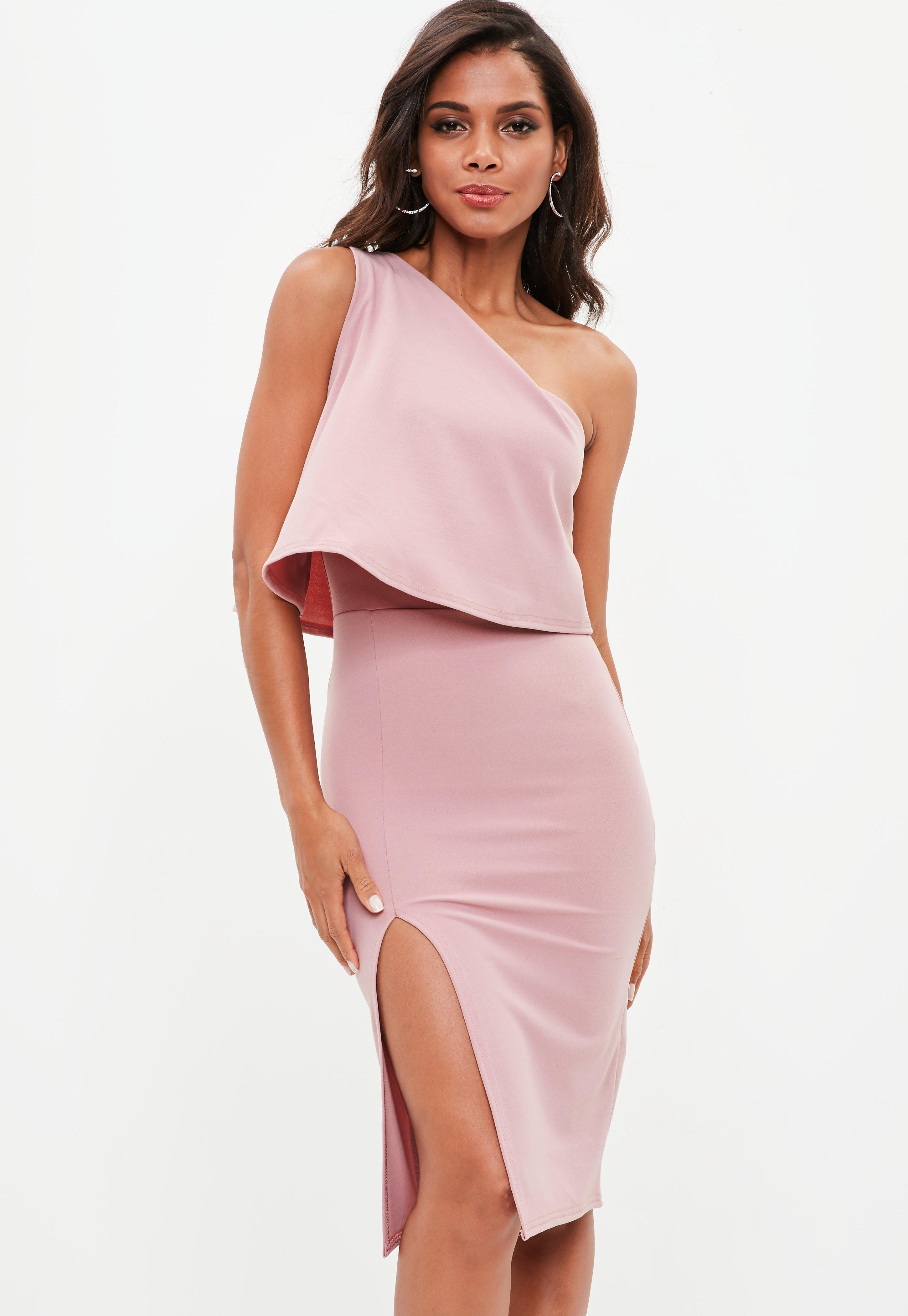Lyst missguided rose pink one shoulder crepe overlay midi dress in pink Pink fashion and style pink dress