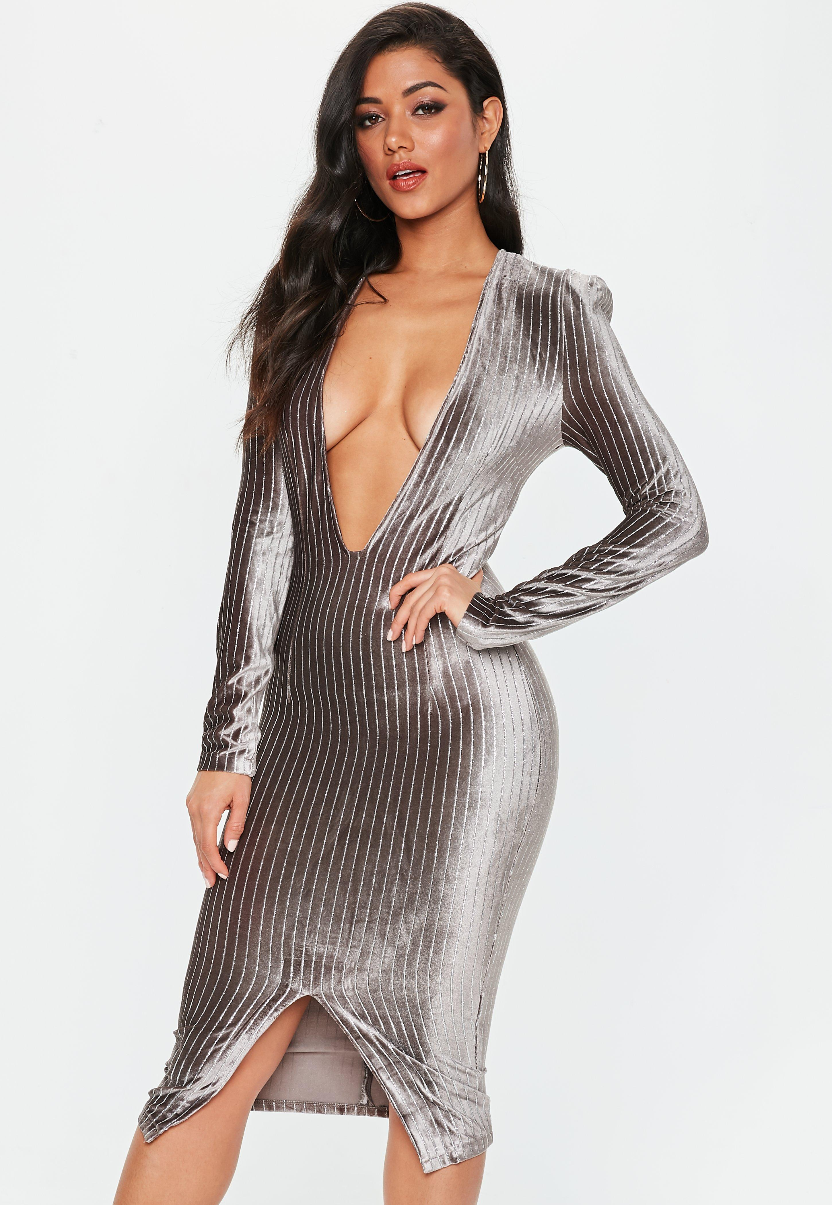 2714e1857f Lyst - Missguided Grey Metallic Stripe Plunge Dress in Gray