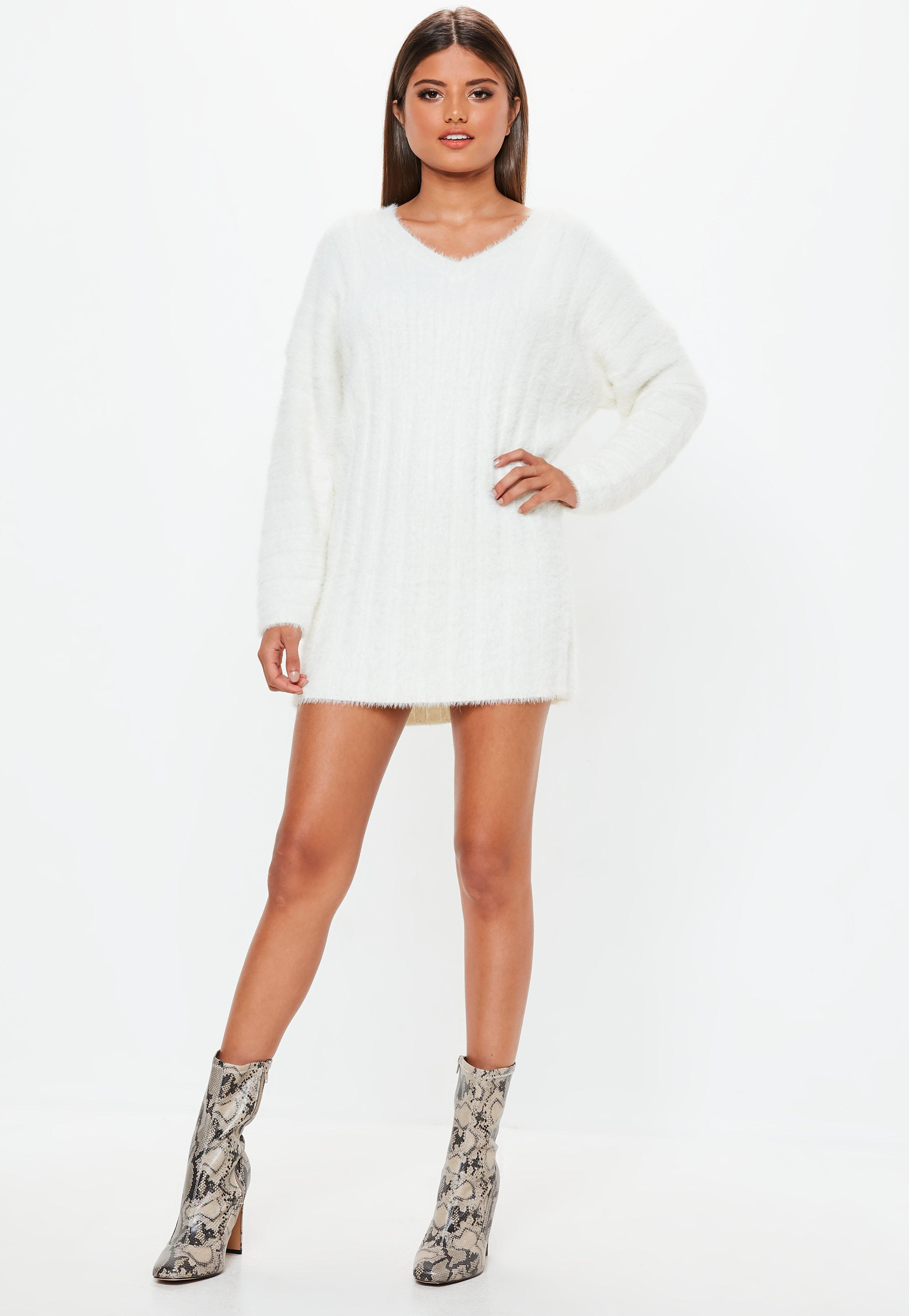 92968914c65f4 Missguided - White Fluffy Ribbed Knitted Jumper Dress - Lyst. View  fullscreen