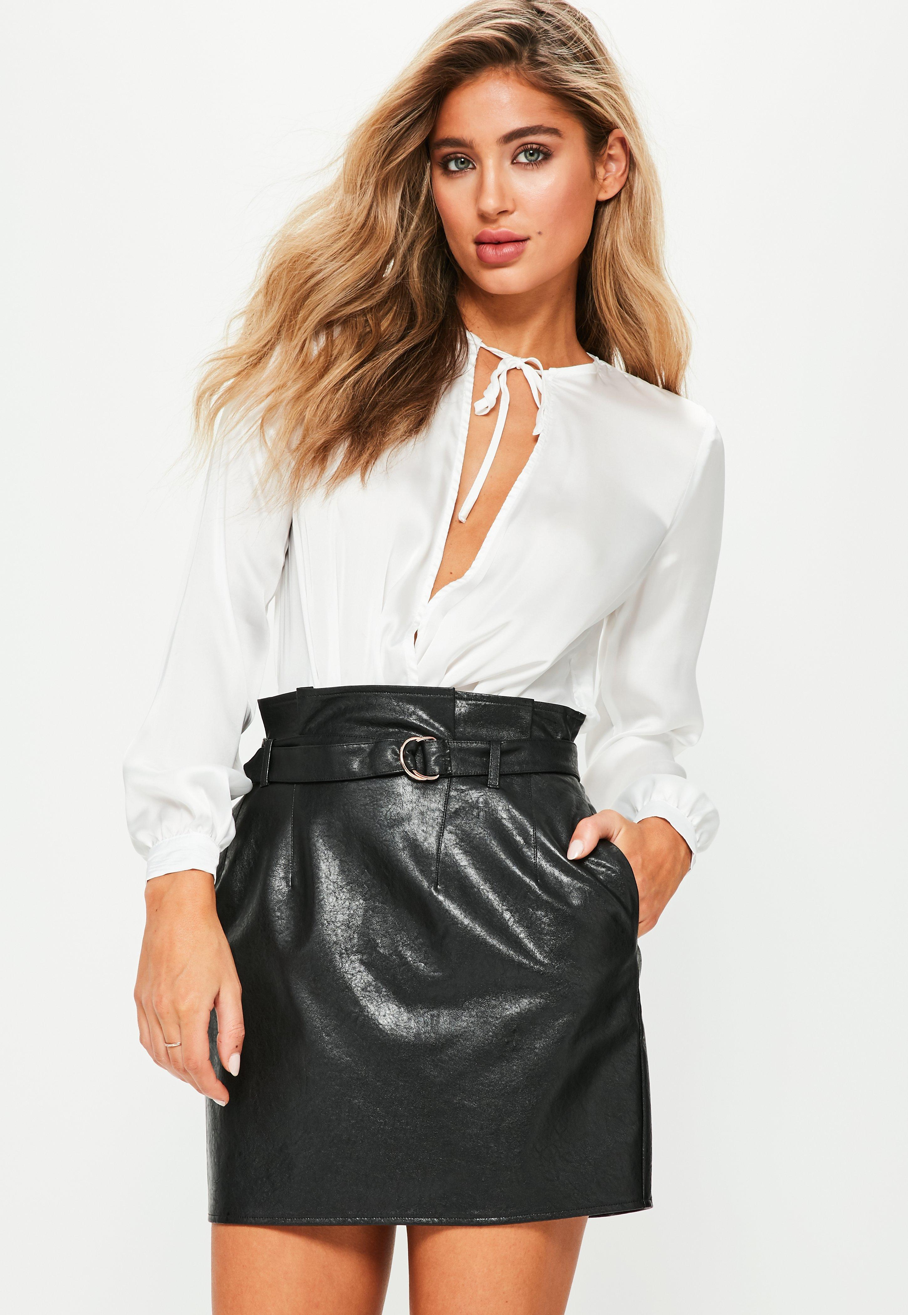 9984345fa9 Missguided Black Faux Leather Paperbag Waist Mini Skirt in Black - Lyst