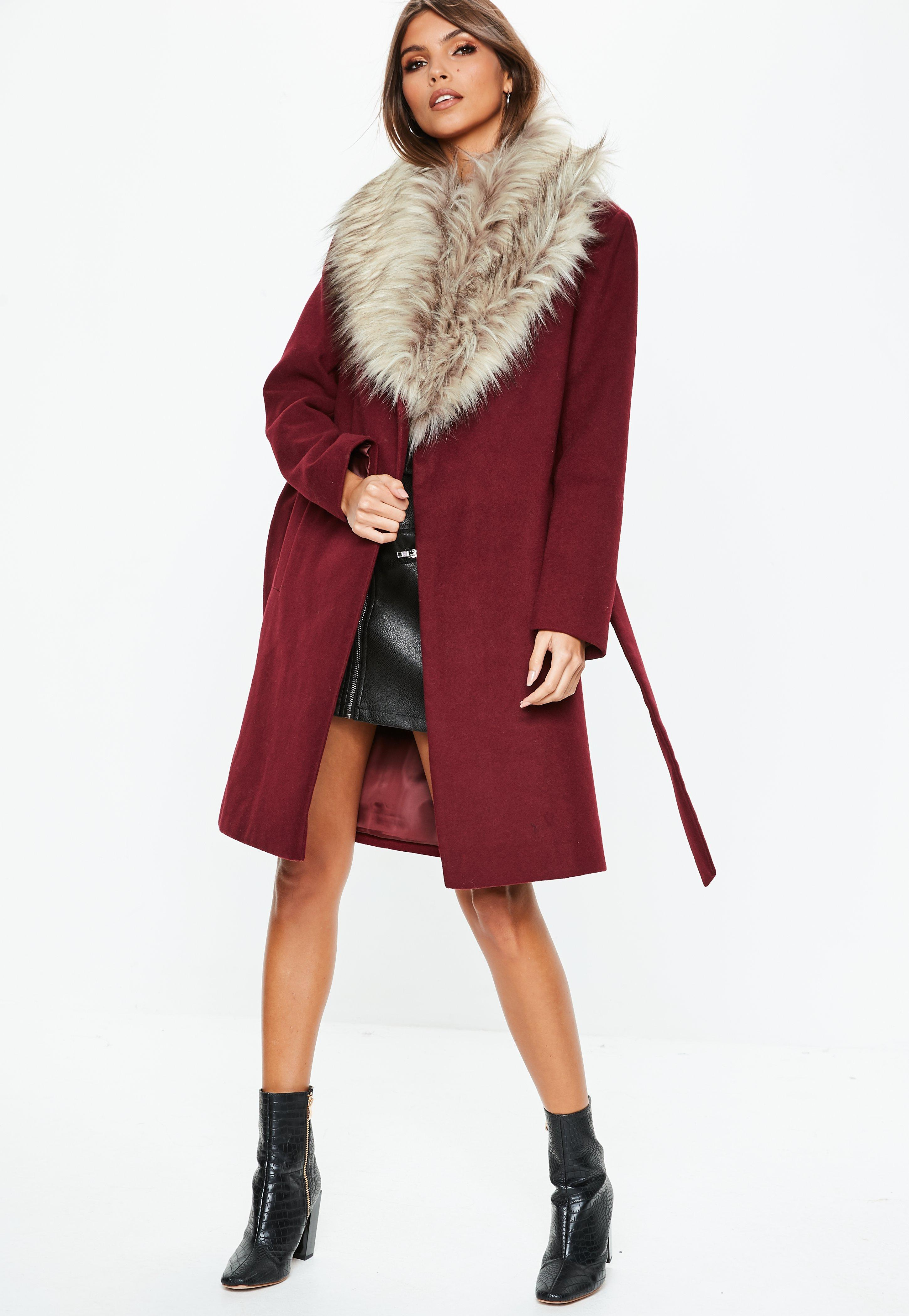 7a2dbf34d337 Missguided Burgundy Faux Fur Collar Coat in Red - Lyst