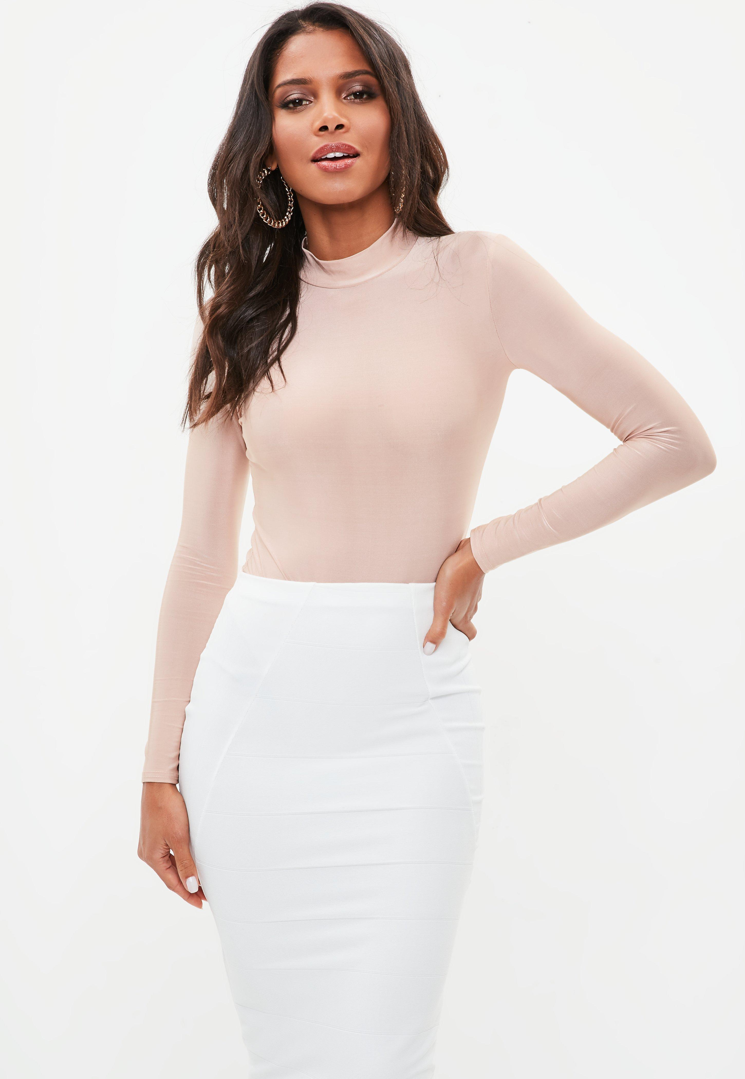 Missguided Pink Long Sleeve Slinky High Neck Bodysuit In
