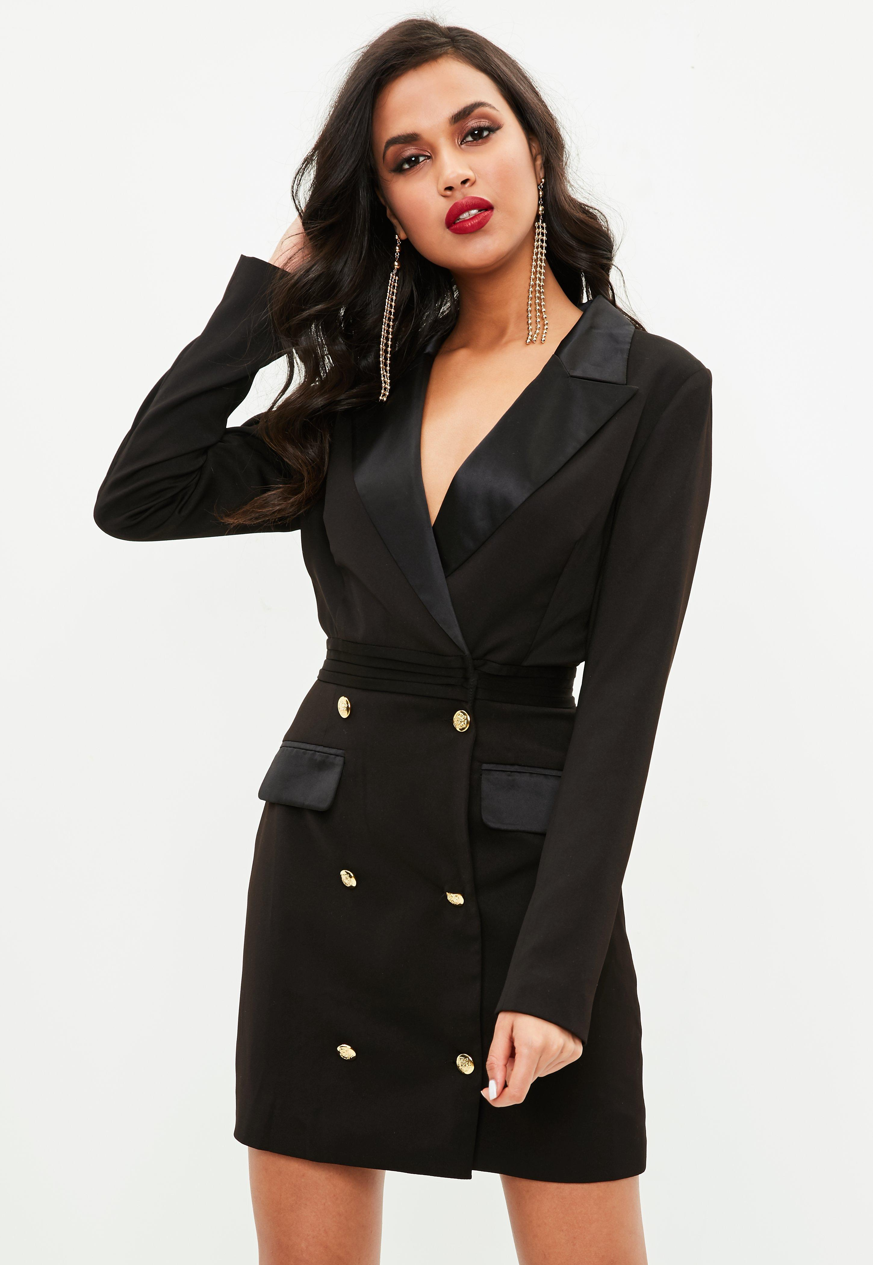 Lyst Missguided Tall Black Tuxedo Dress In Black
