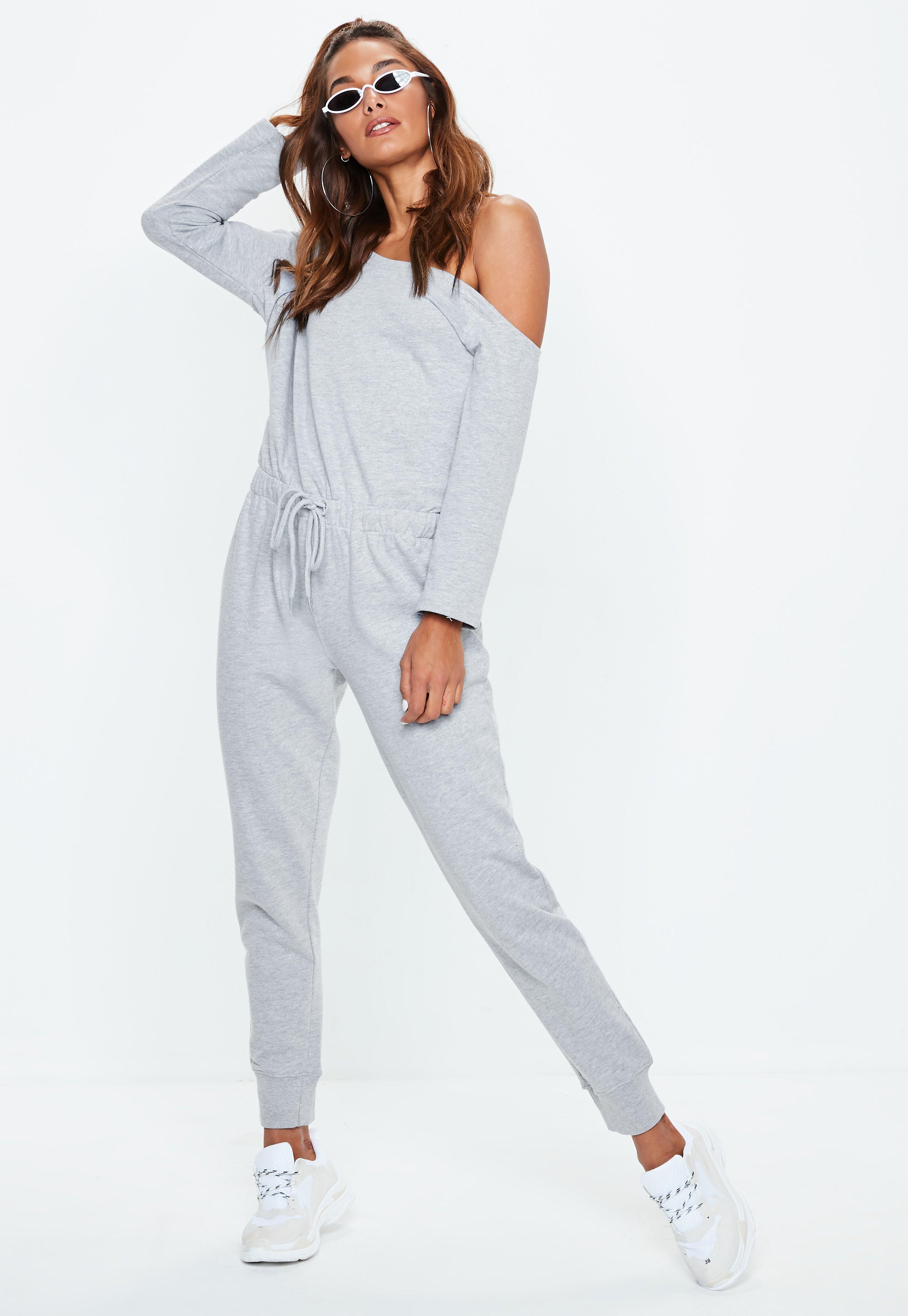 b5c178f11090 Missguided Grey Off Shoulder Drawstring Jumpsuit in Gray - Lyst