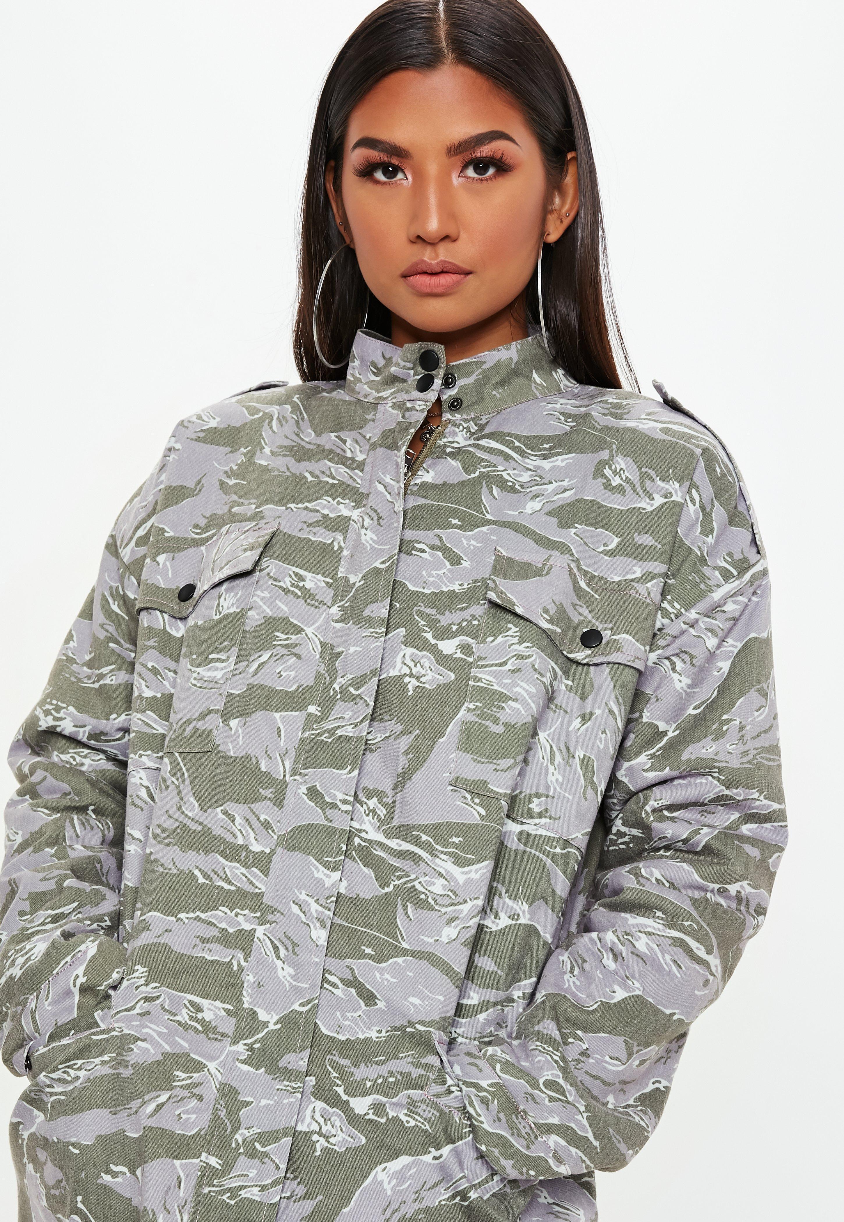 cb55a00660e04 Missguided - Natural Khaki Camo Collar Hunter Coach Jacket - Lyst. View  fullscreen
