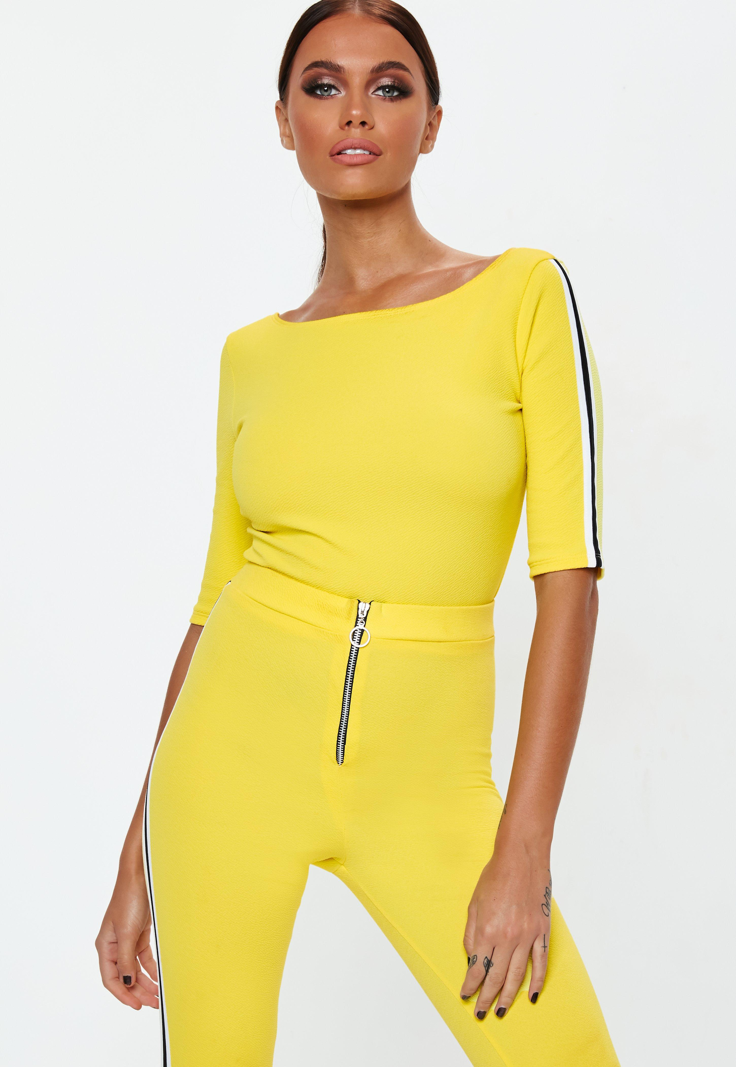 f02a647060aaff Lyst - Missguided Yellow Side Stripe Crop Top in Yellow