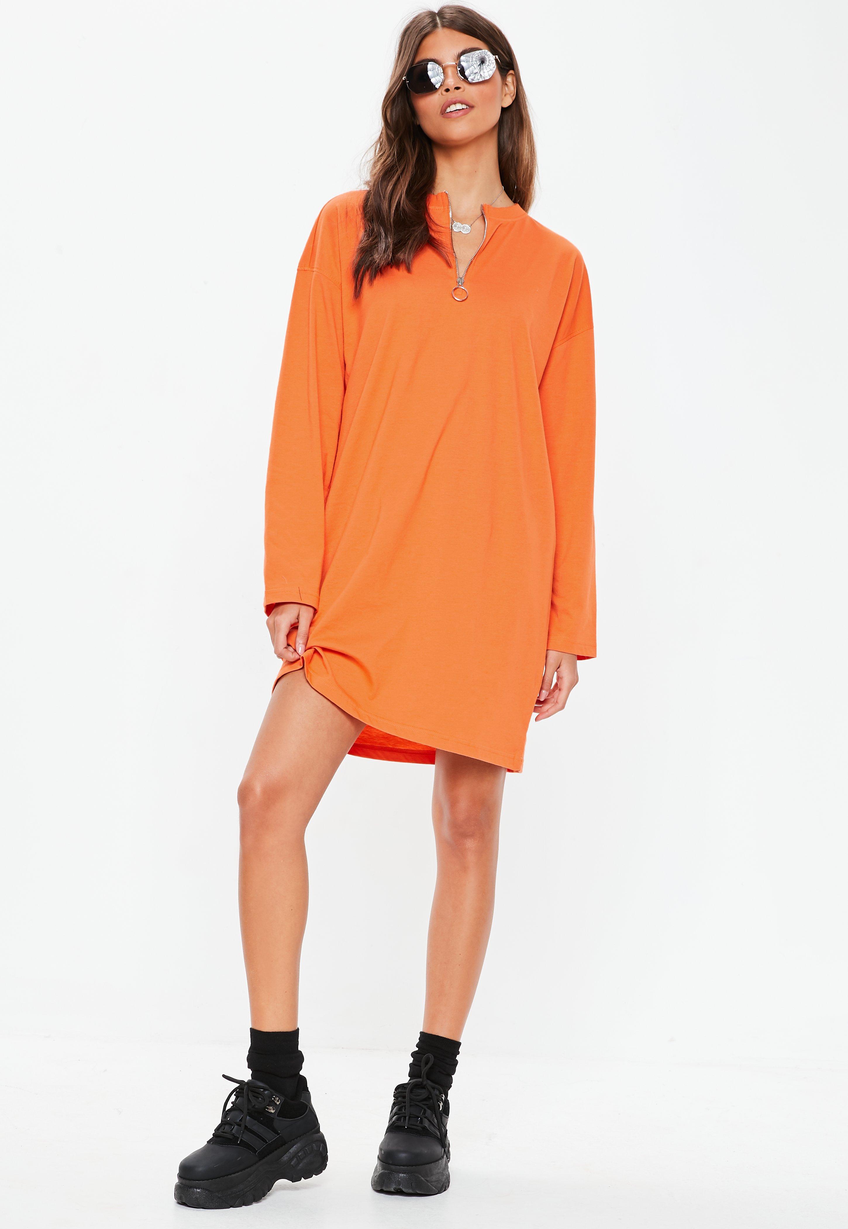 a3b77cfd16 Missguided - Orange Long Sleeve Ring Zip Oversized T Shirt Dress - Lyst.  View fullscreen