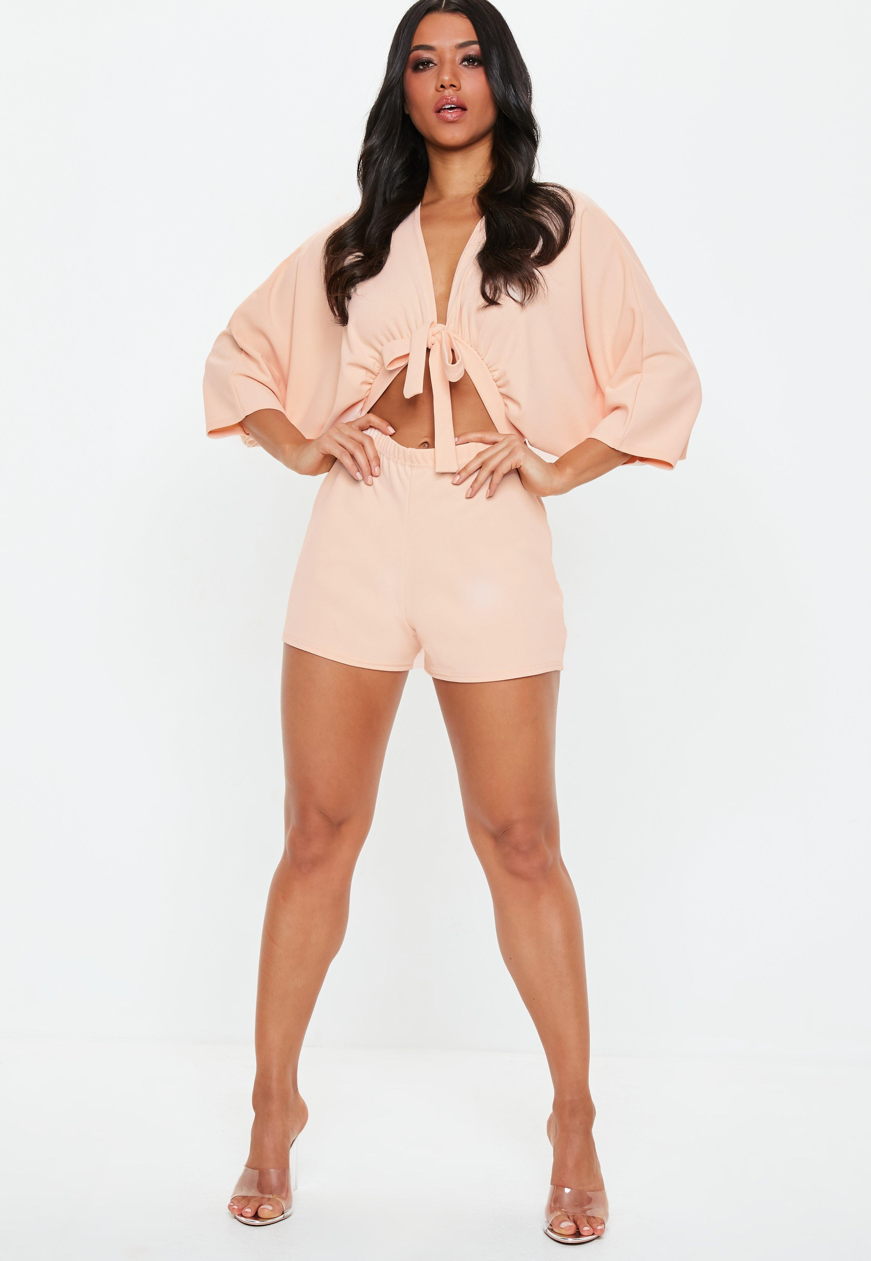 9341d95e32 Missguided - Pink Blush Kimono Sleeve Tie Front Romper - Lyst. View  fullscreen