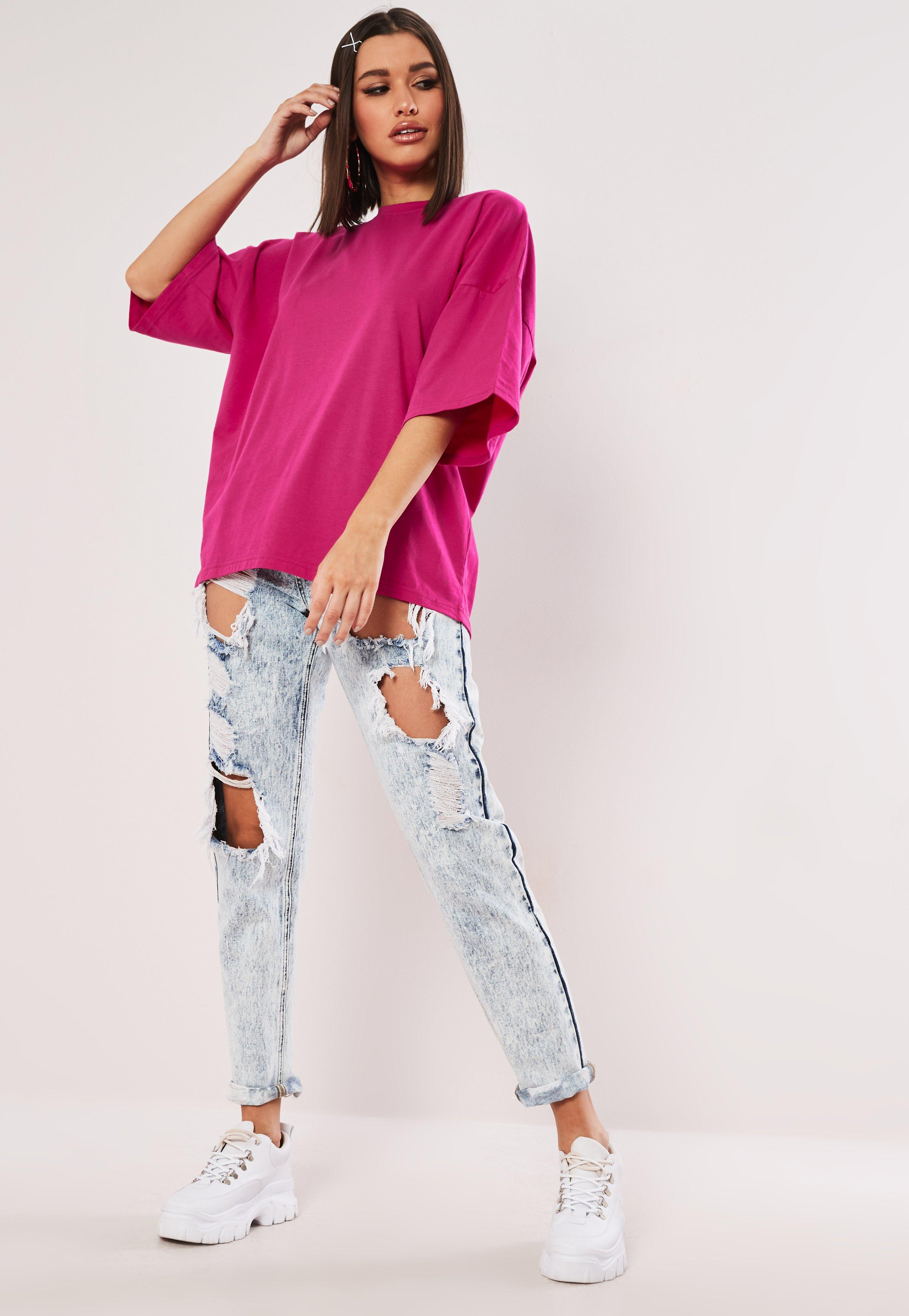 cd7298170 Lyst - Missguided Pink Drop Shoulder Oversized T Shirt in Pink