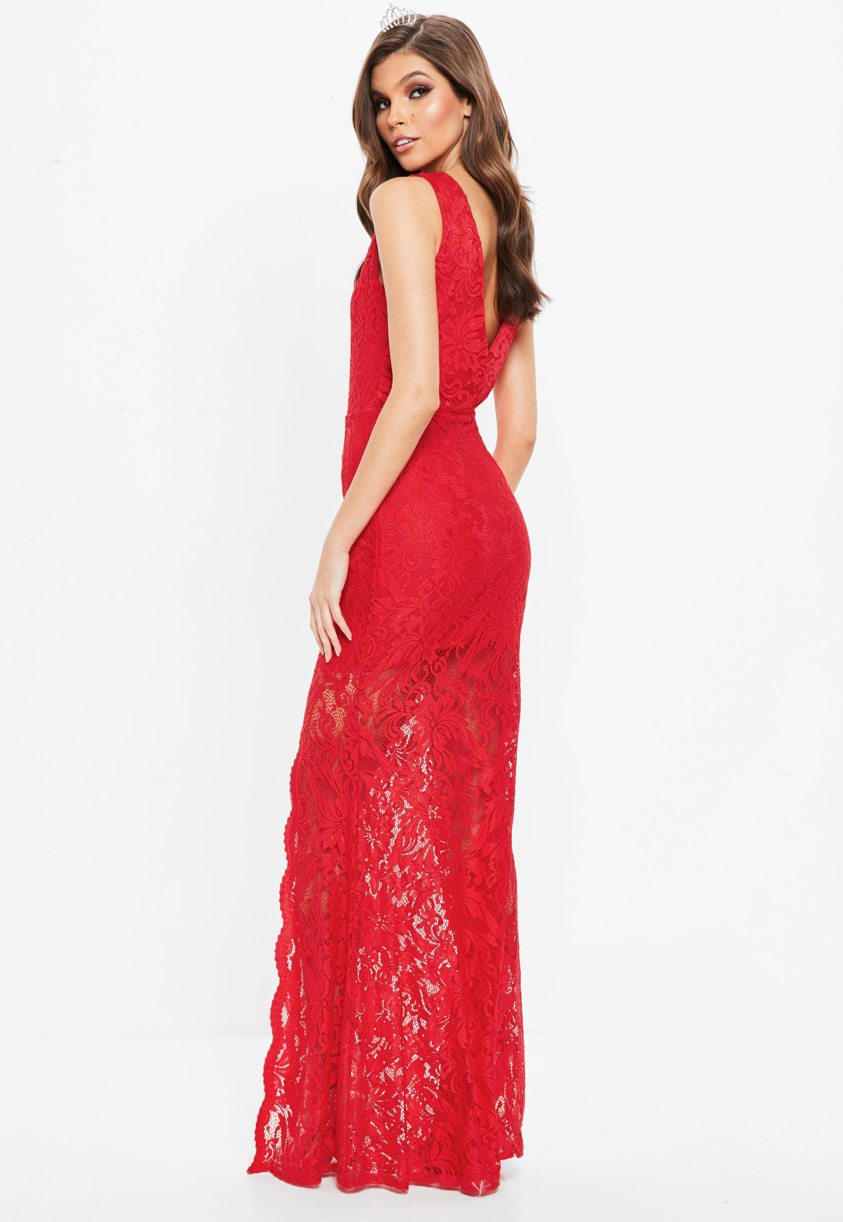 b88a217759 Lyst - Missguided Red Plunge Scallop Trim Lace Maxi Dress in Red