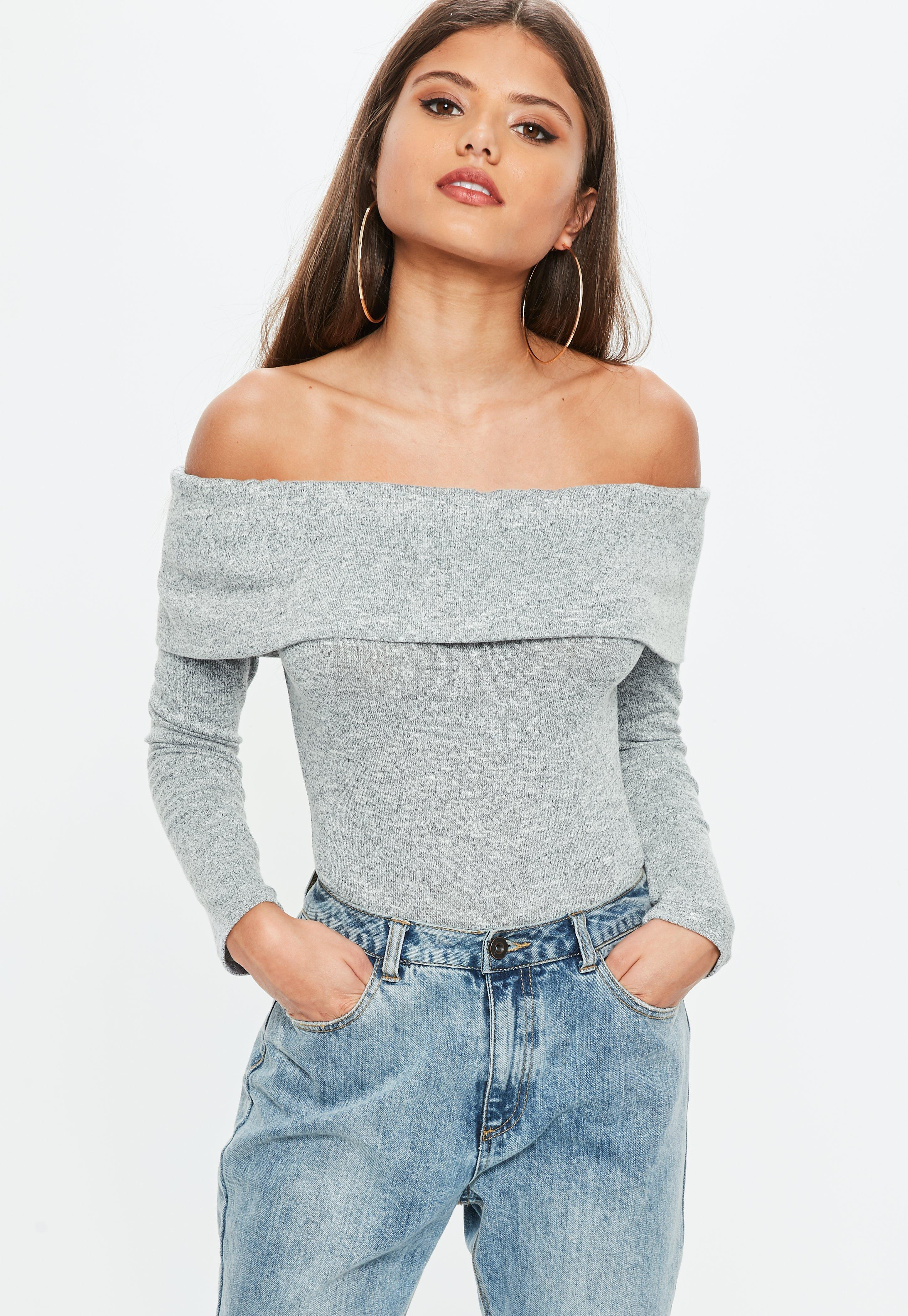 864f22bc98 Lyst - Missguided Gray Marl Fold Over Bardot Bodysuit in Gray