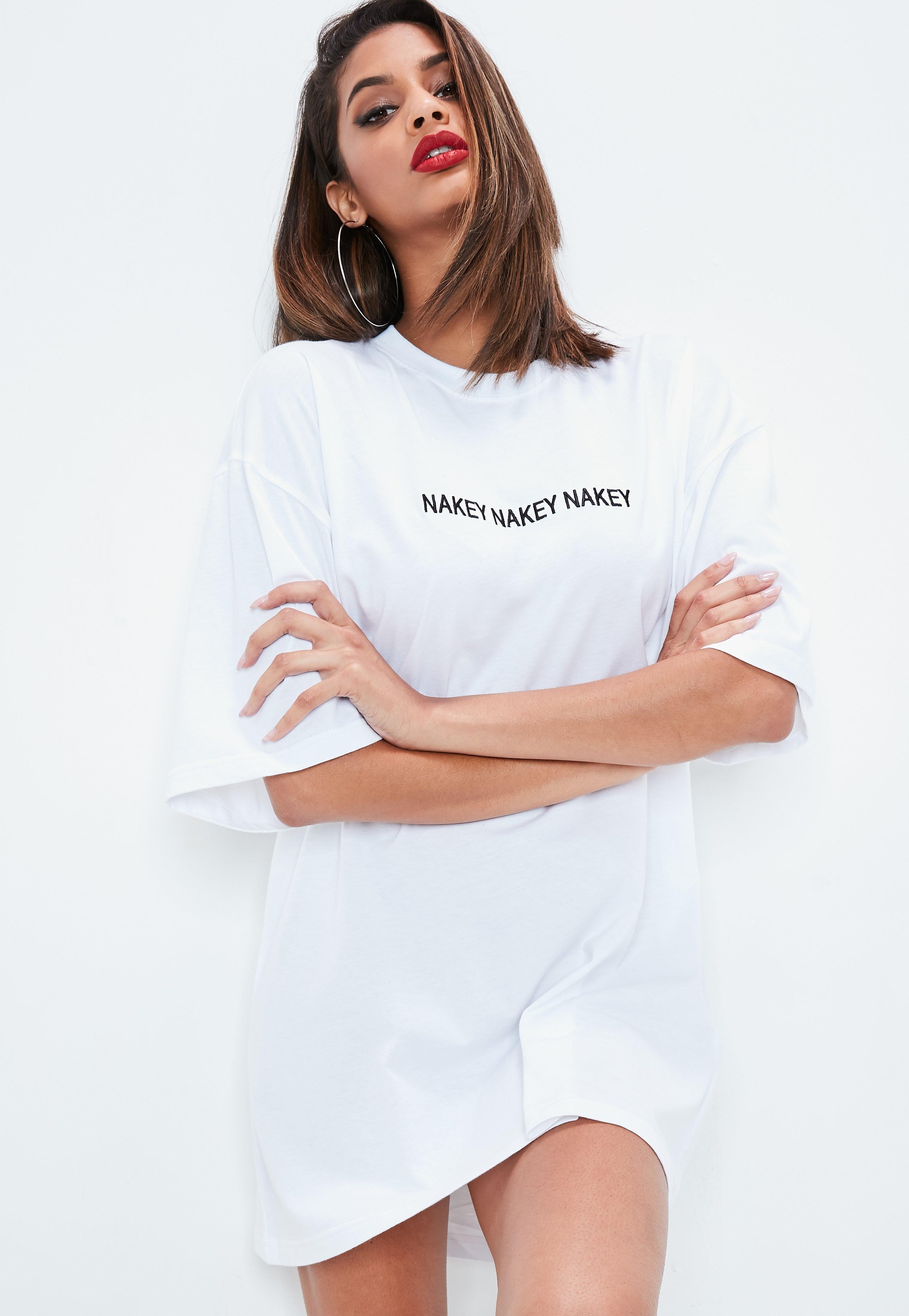 53c9cd71405 Missguided White Nakey Nakey Nakey Slogan Oversized T Shirt Dress in ...