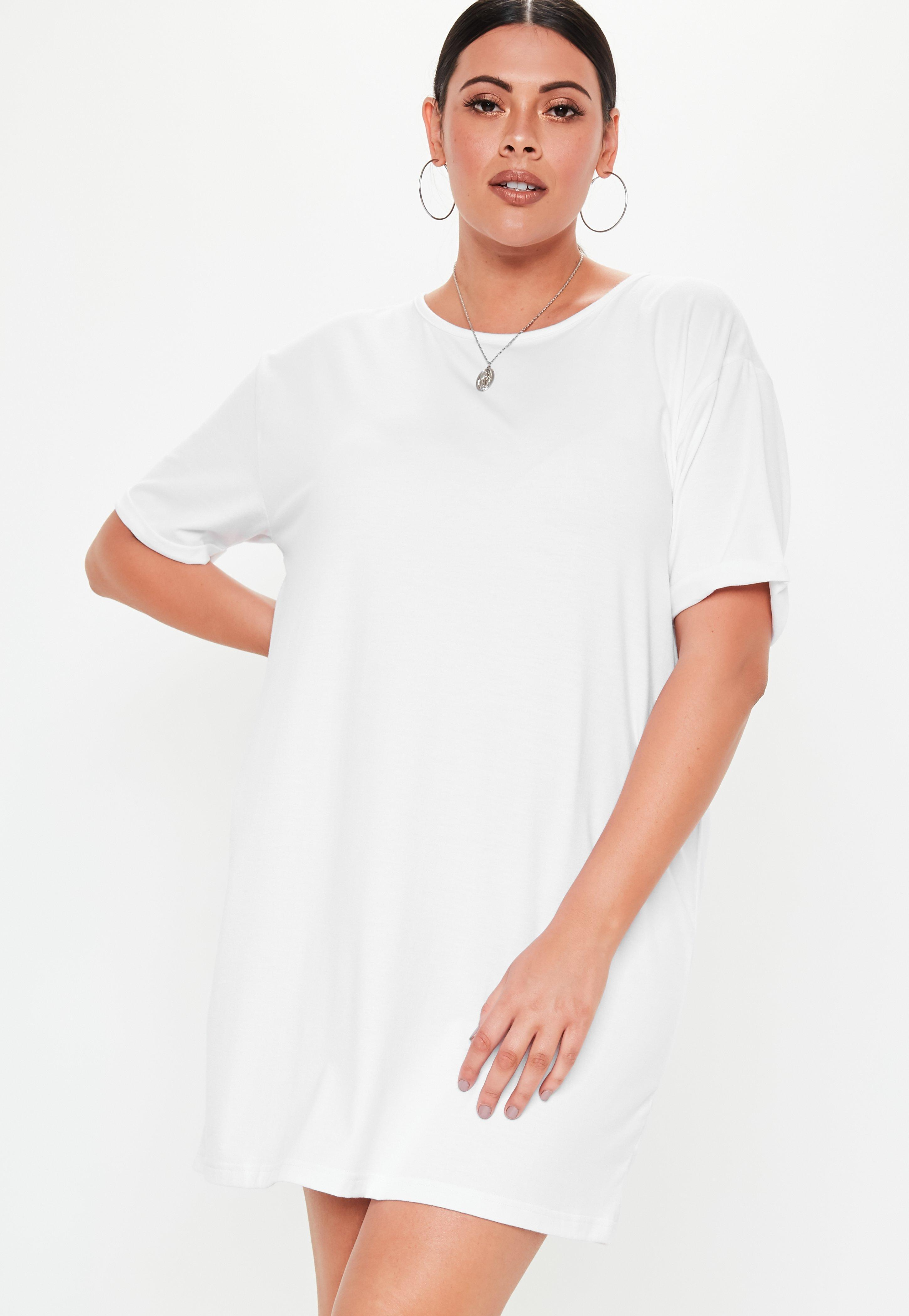 Missguided Plus Size White Oversized T Shirt Dress