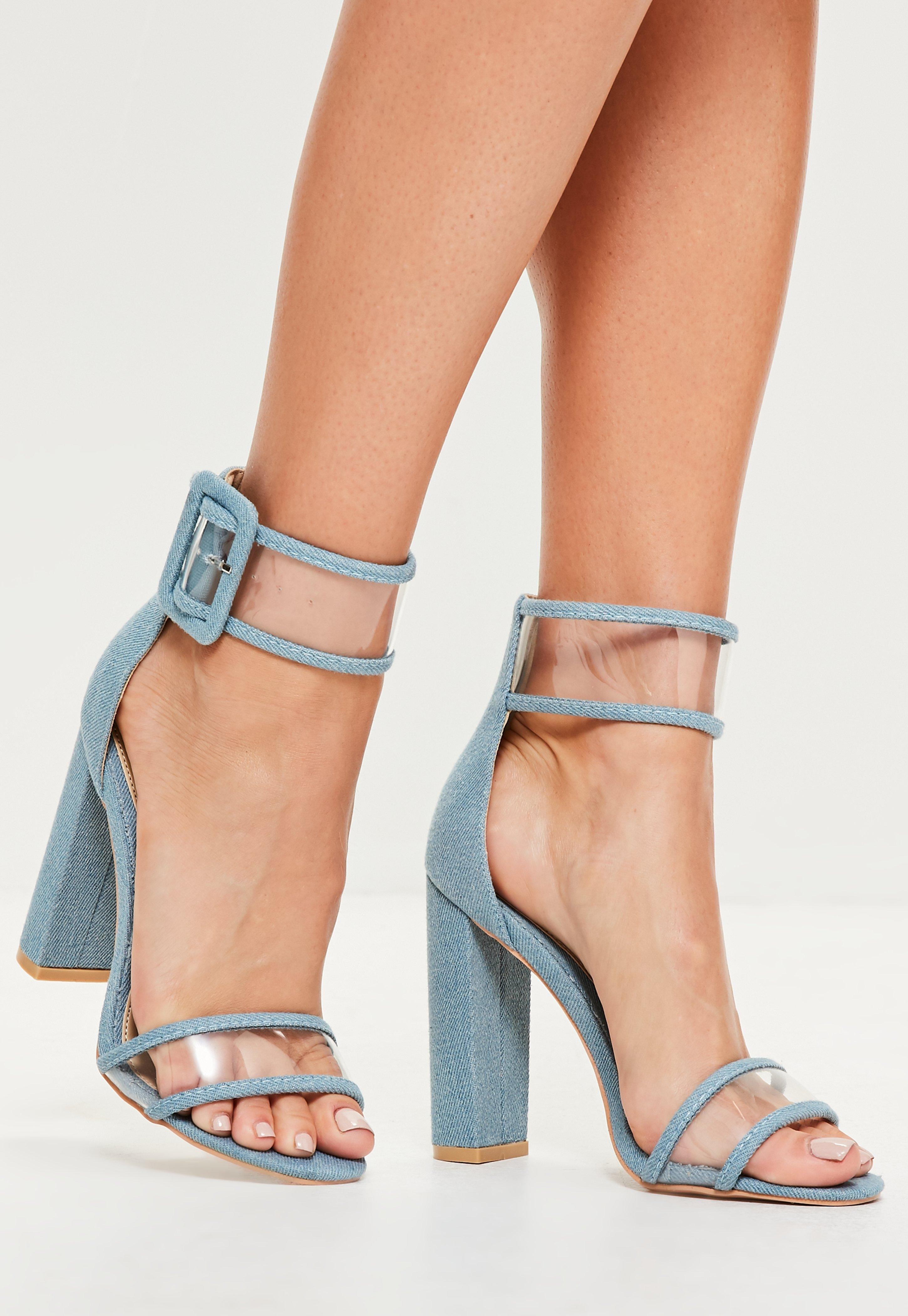 5aa350e0244 Lyst - Missguided Blue Denim Clear Ankle Strap Block Heels in Blue