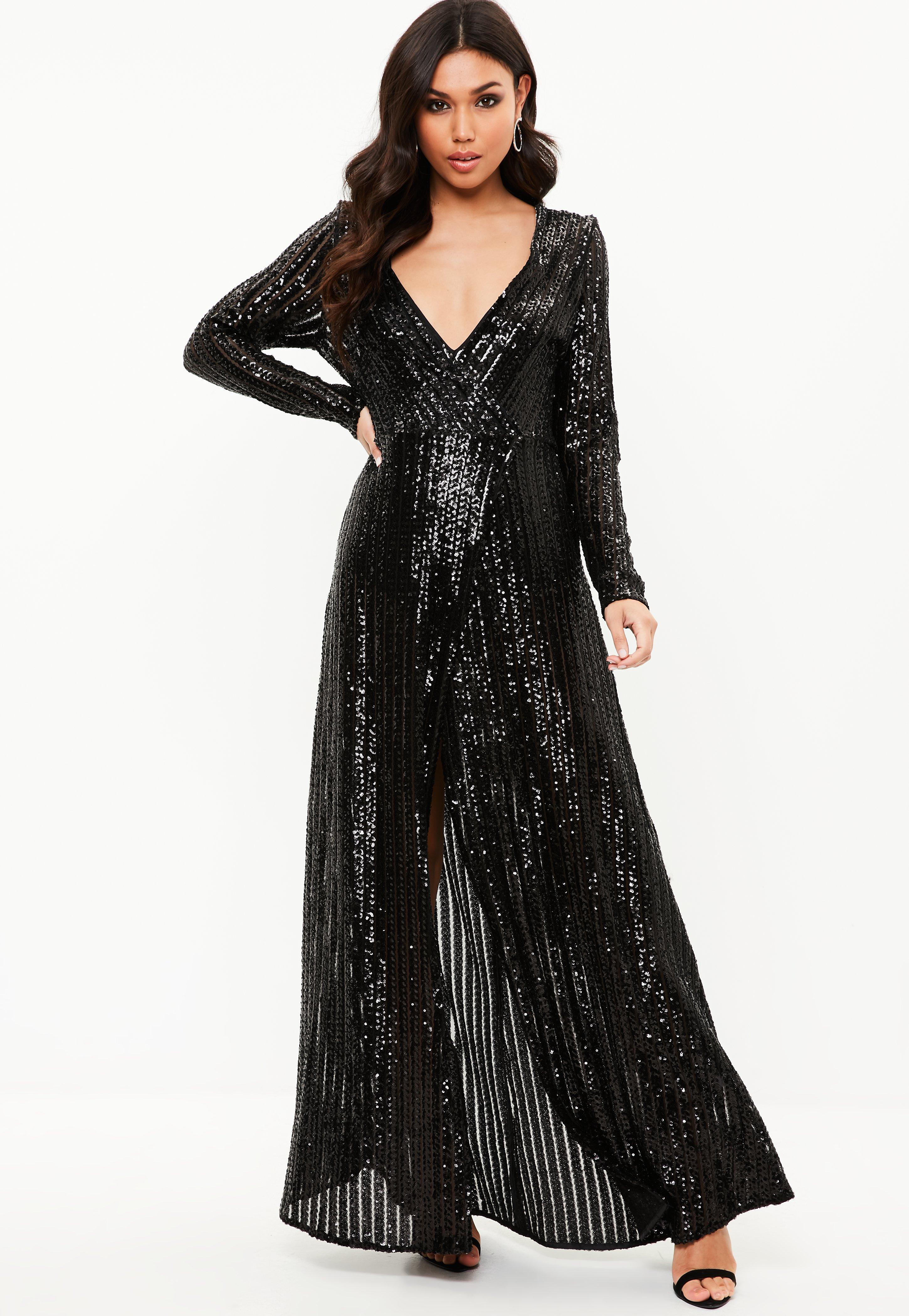 Missguided Black Sequin Plunge Long Sleeved Maxi Dress In