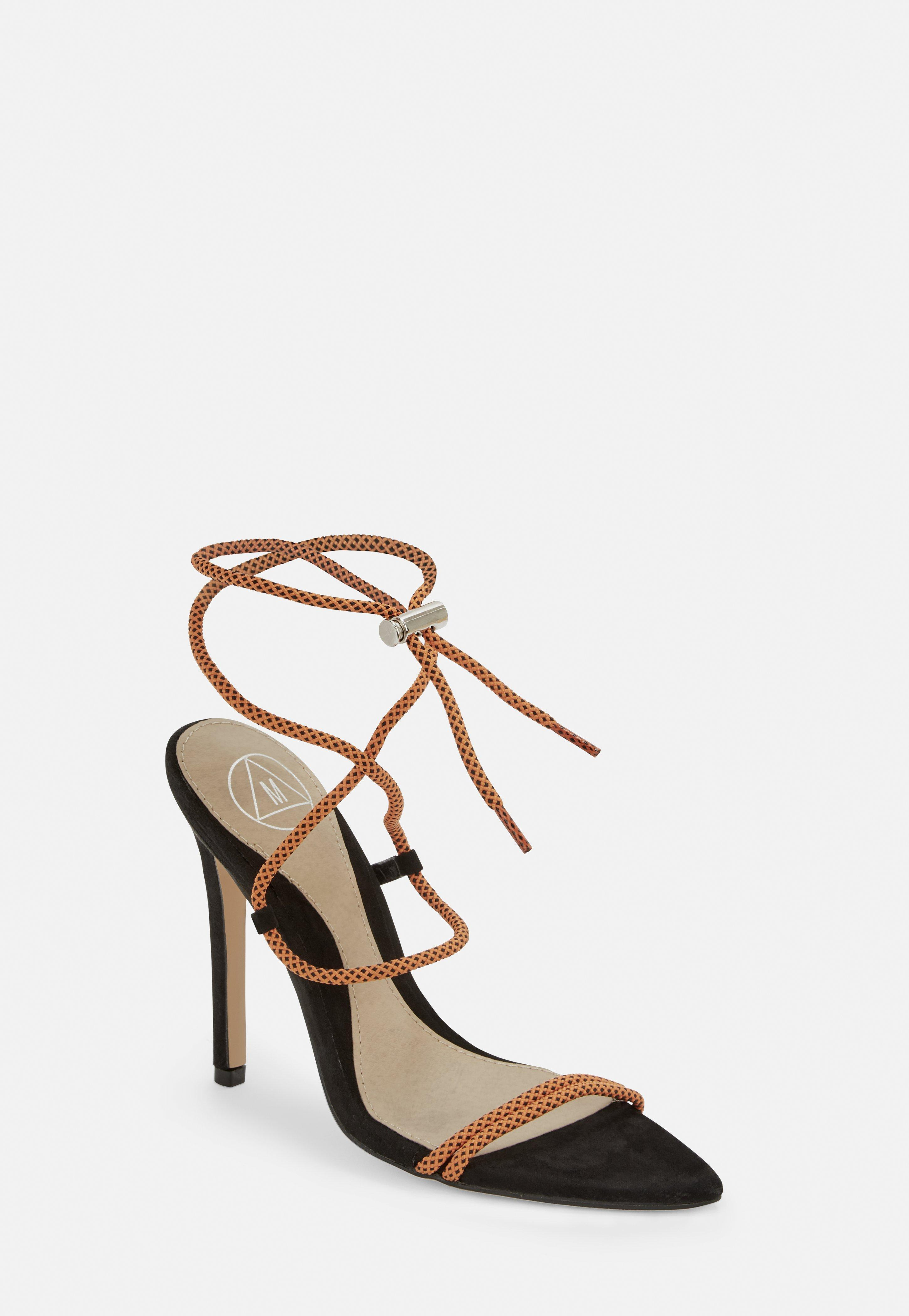25a85fcd4c9 Lyst - Missguided Orange Rope Pointed Toe Heeled Sandals in Orange