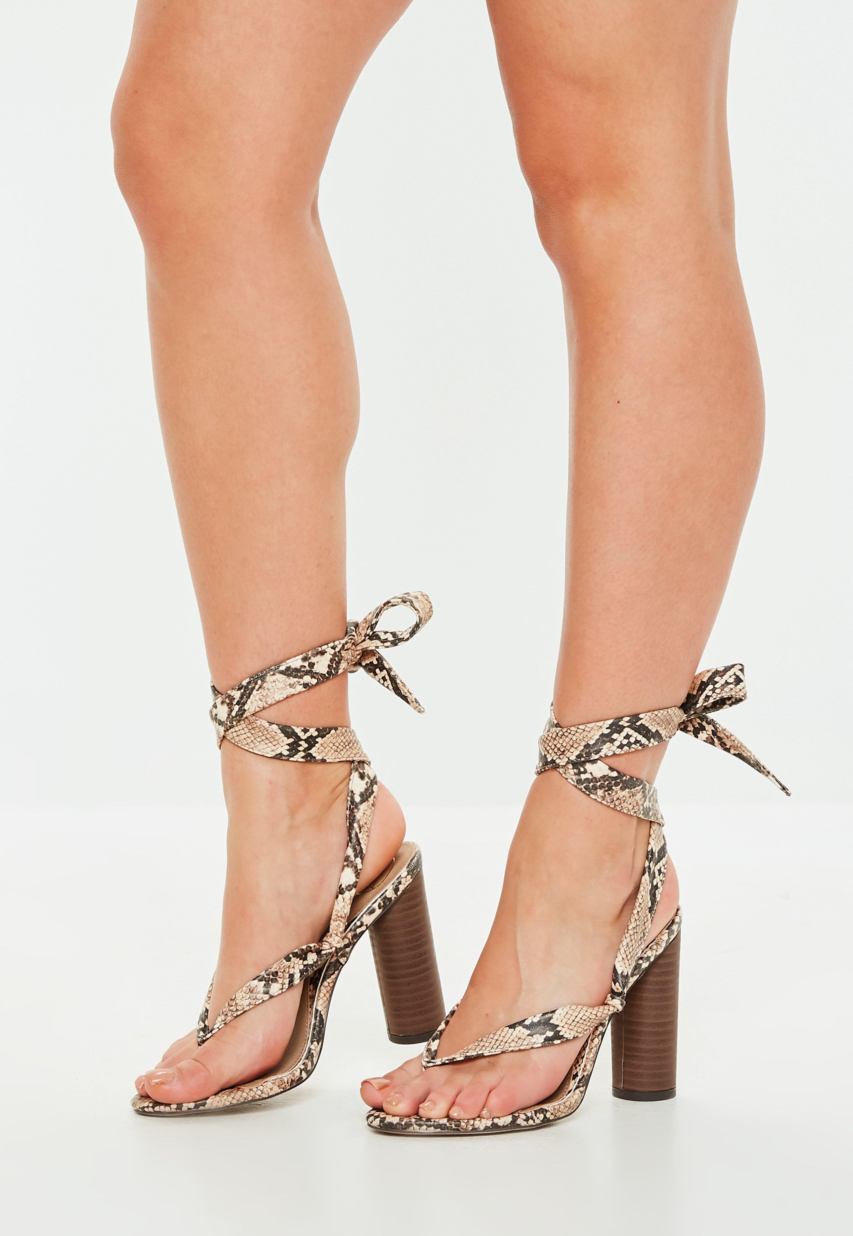 4a0fb69de74 Lyst - Missguided Nude Snake Print Wrap Block Heel Sandals in Natural