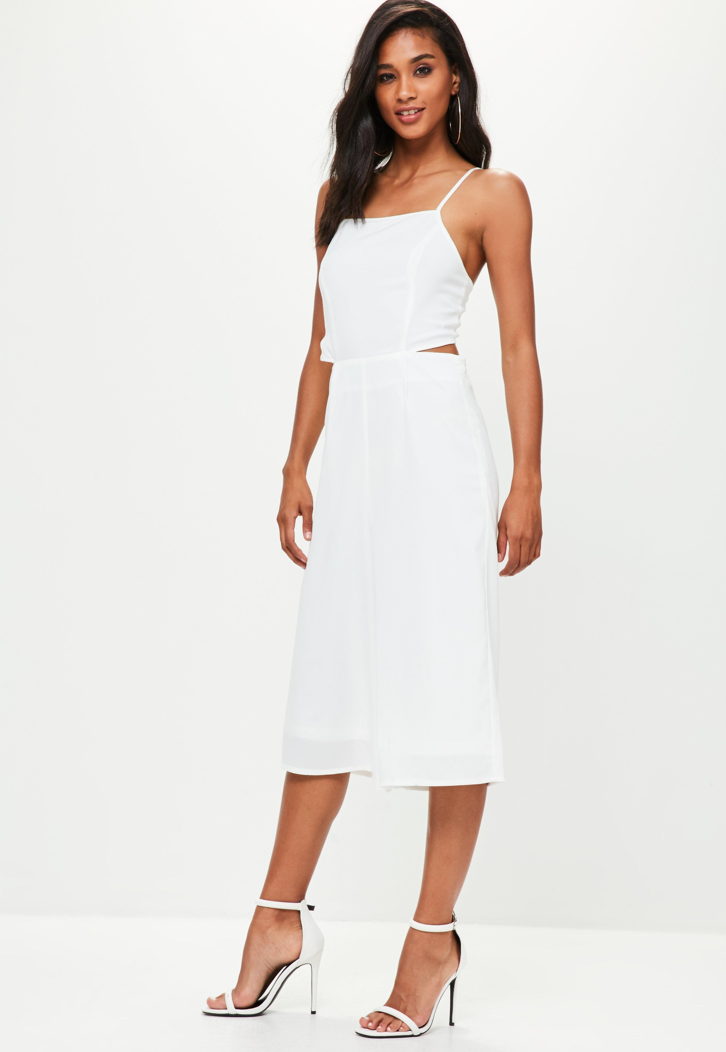 20d7c50149f5 Lyst - Missguided White Tie Back Culottes Jumpsuit in White