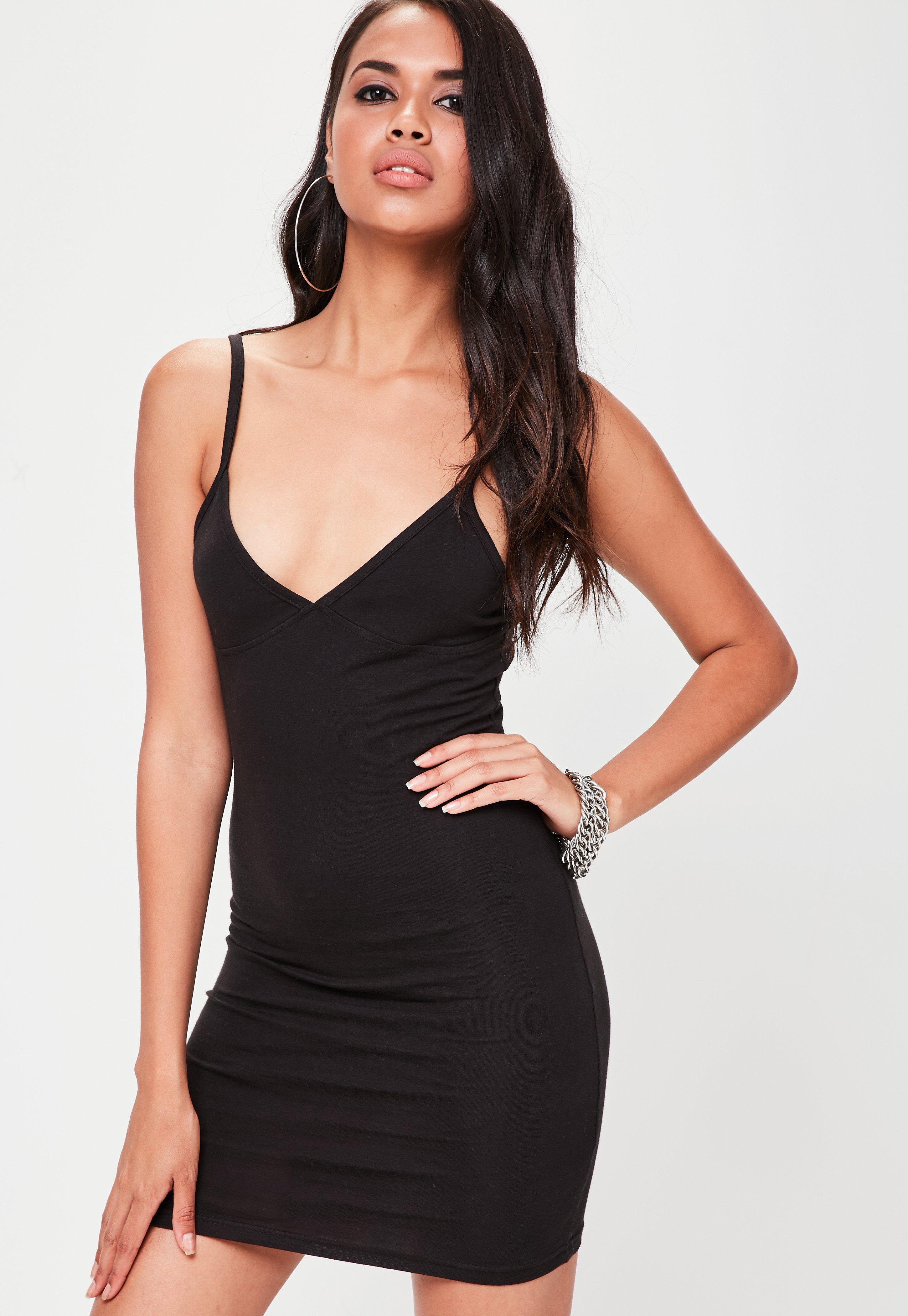 Strappy bodycon mini dress black zozo