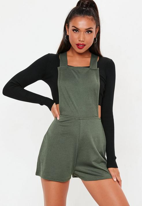 017084e2aa7 Missguided Khaki Dungaree Cross Back Romper in Green - Lyst