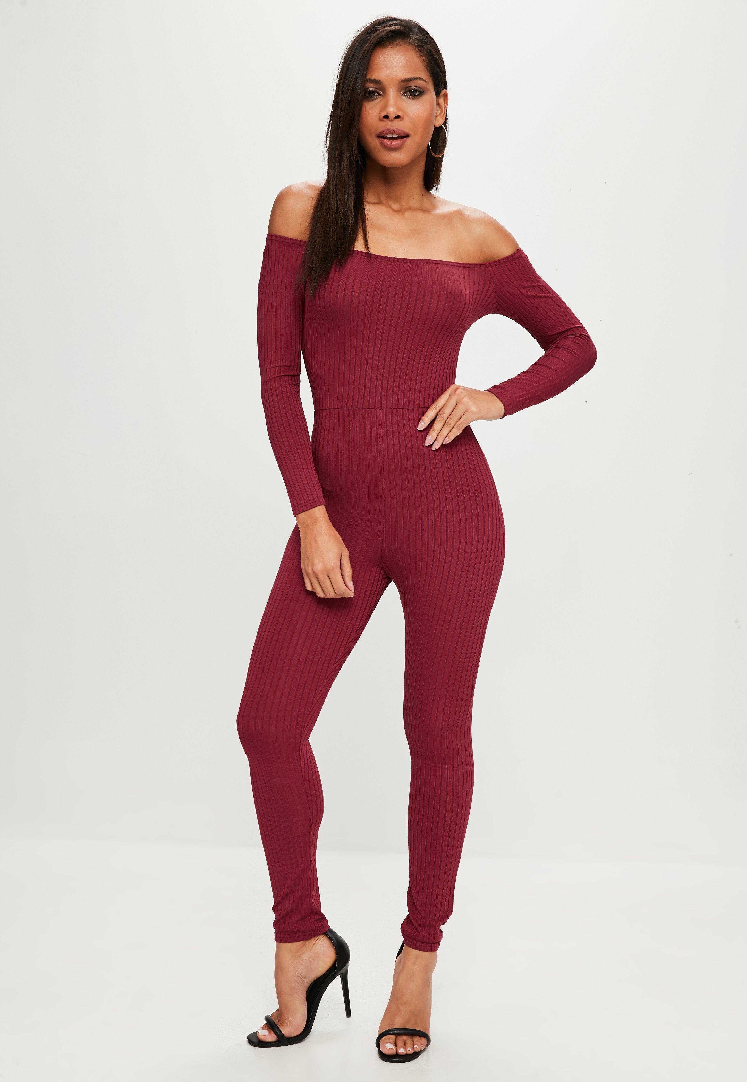 0c6aeaa3e58 Missguided Burgundy Ribbed Skinny Leg Jumpsuit in Red - Lyst